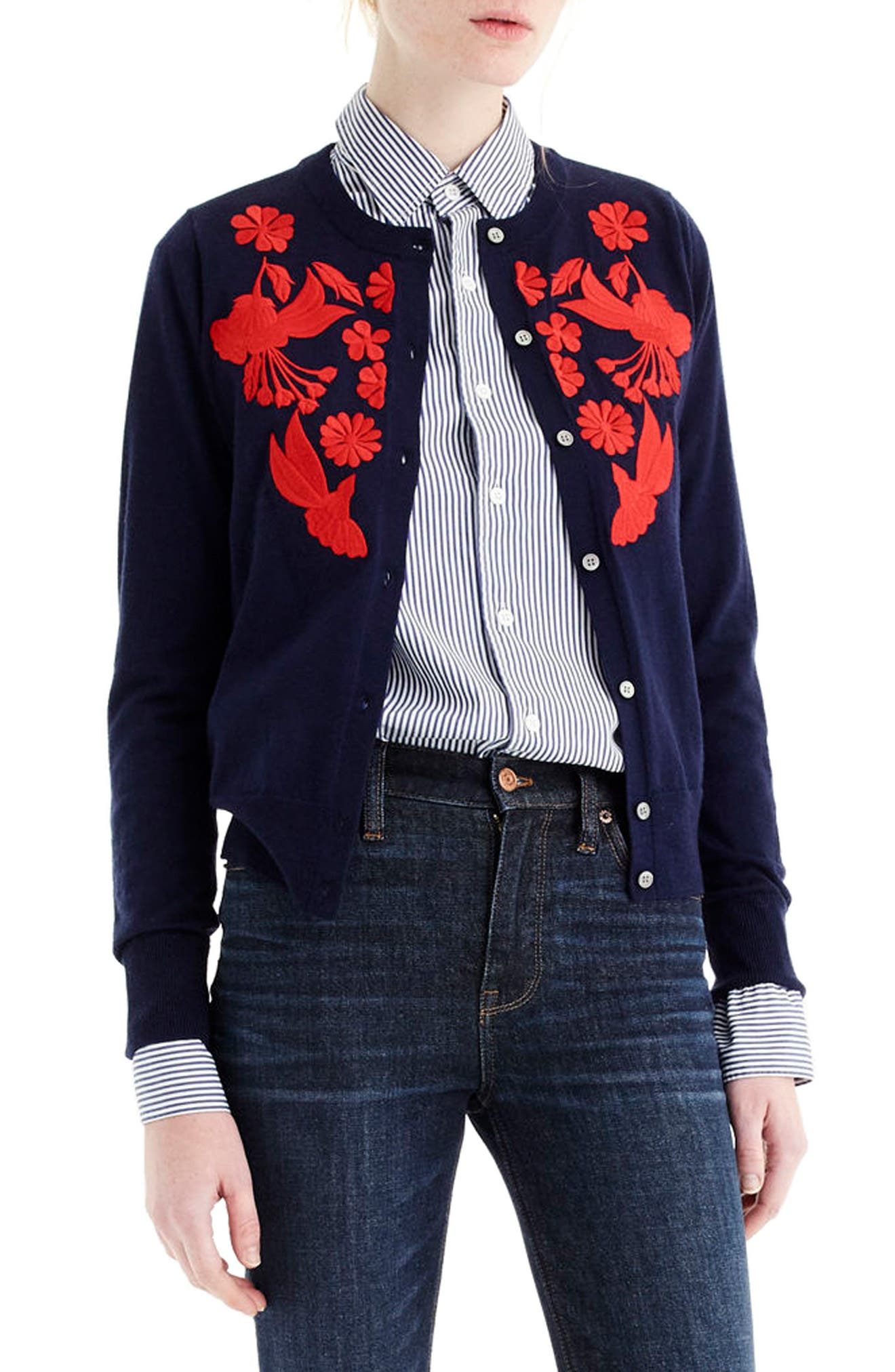 J.Crew Embroidered Lightweight Merino Wool Jackie Cardigan,                         Main,                         color, Navy