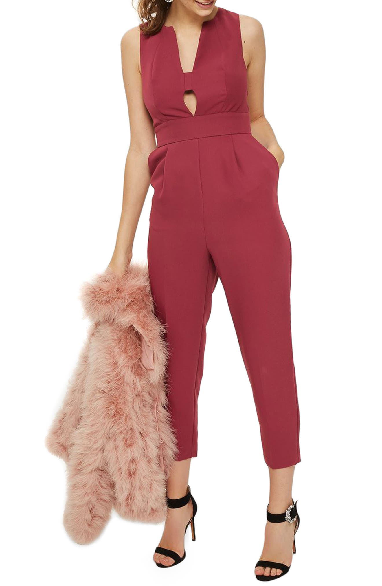 Amber Open Front Jumpsuit,                         Main,                         color, Raspberry