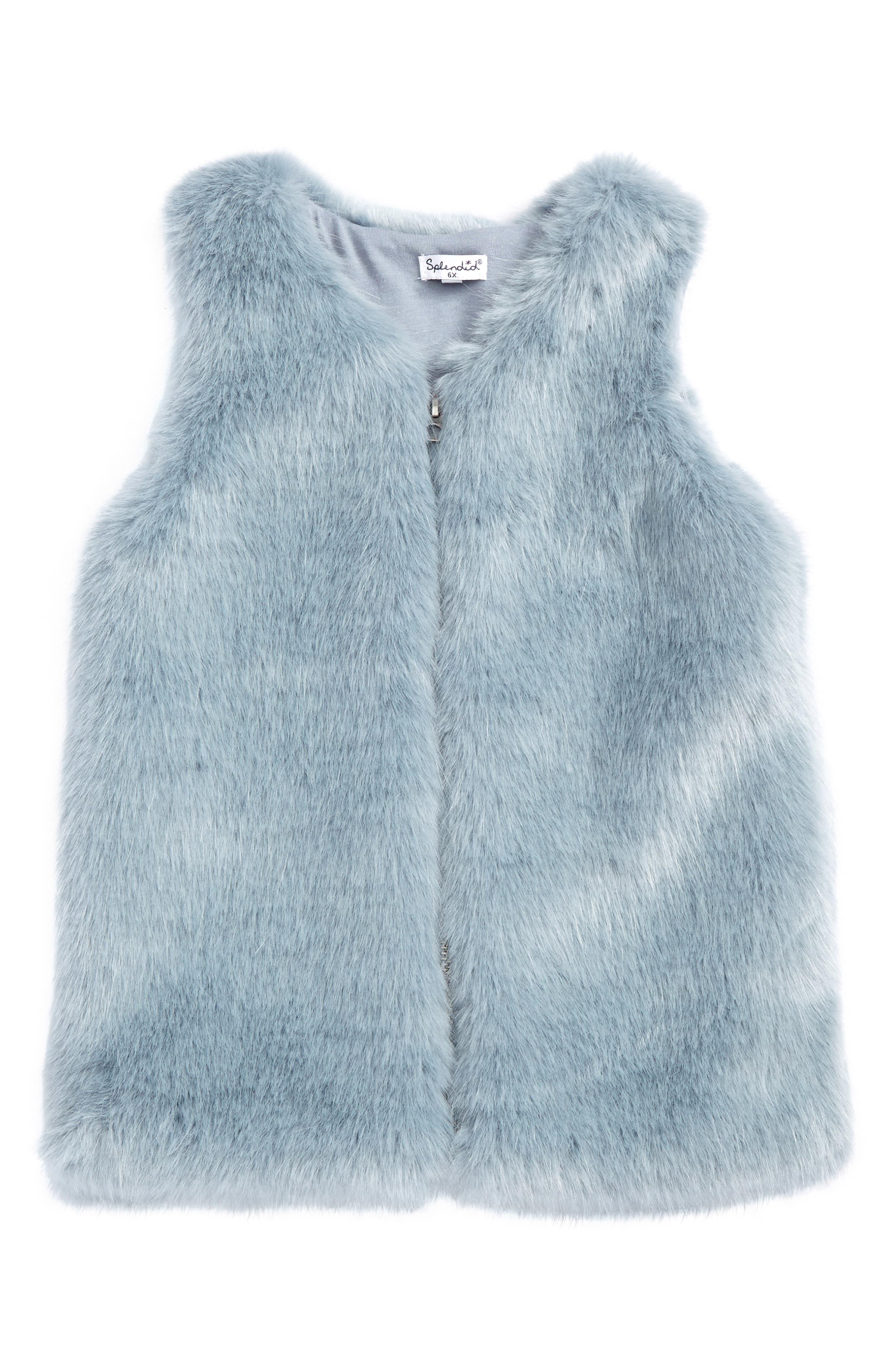 Faux Fur Vest,                         Main,                         color, Light Blue