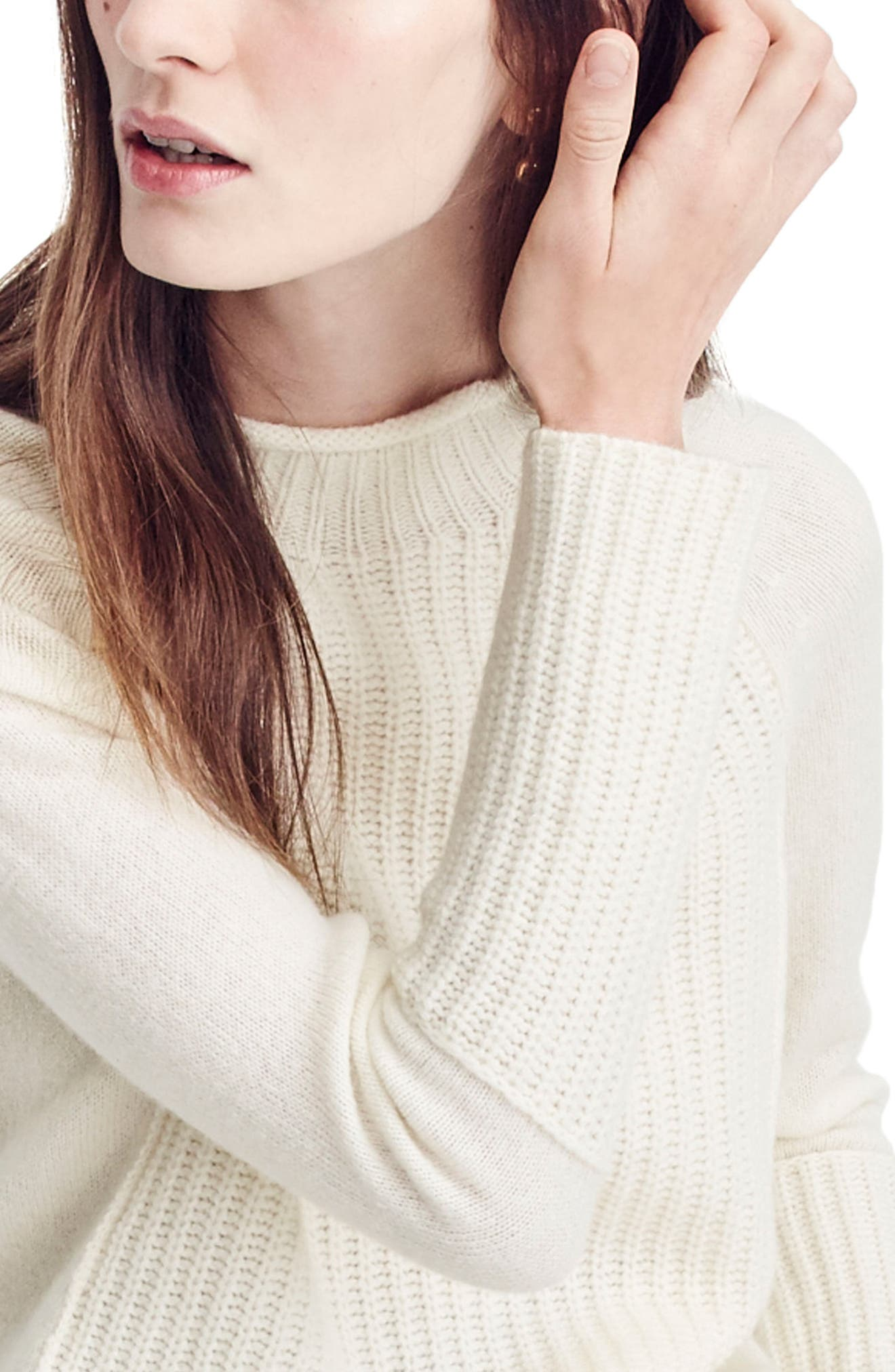 J.Crew New England Mock Neck Wool Tunic Sweater,                             Alternate thumbnail 3, color,                             Natural