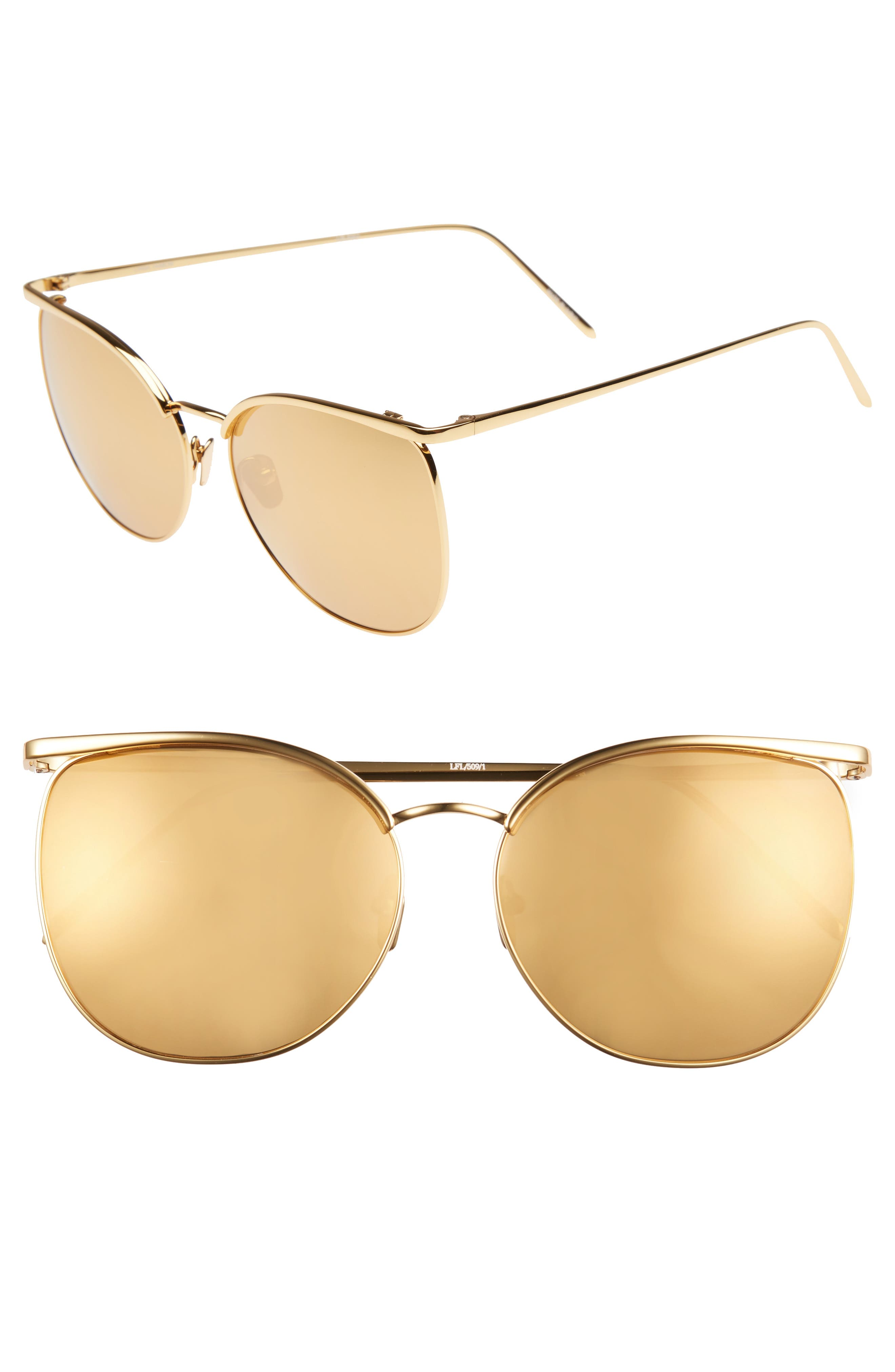 59mm Mirrored 22 Karat Gold Trim Sunglasses,                             Main thumbnail 1, color,                             Yellow Gold/ Gold