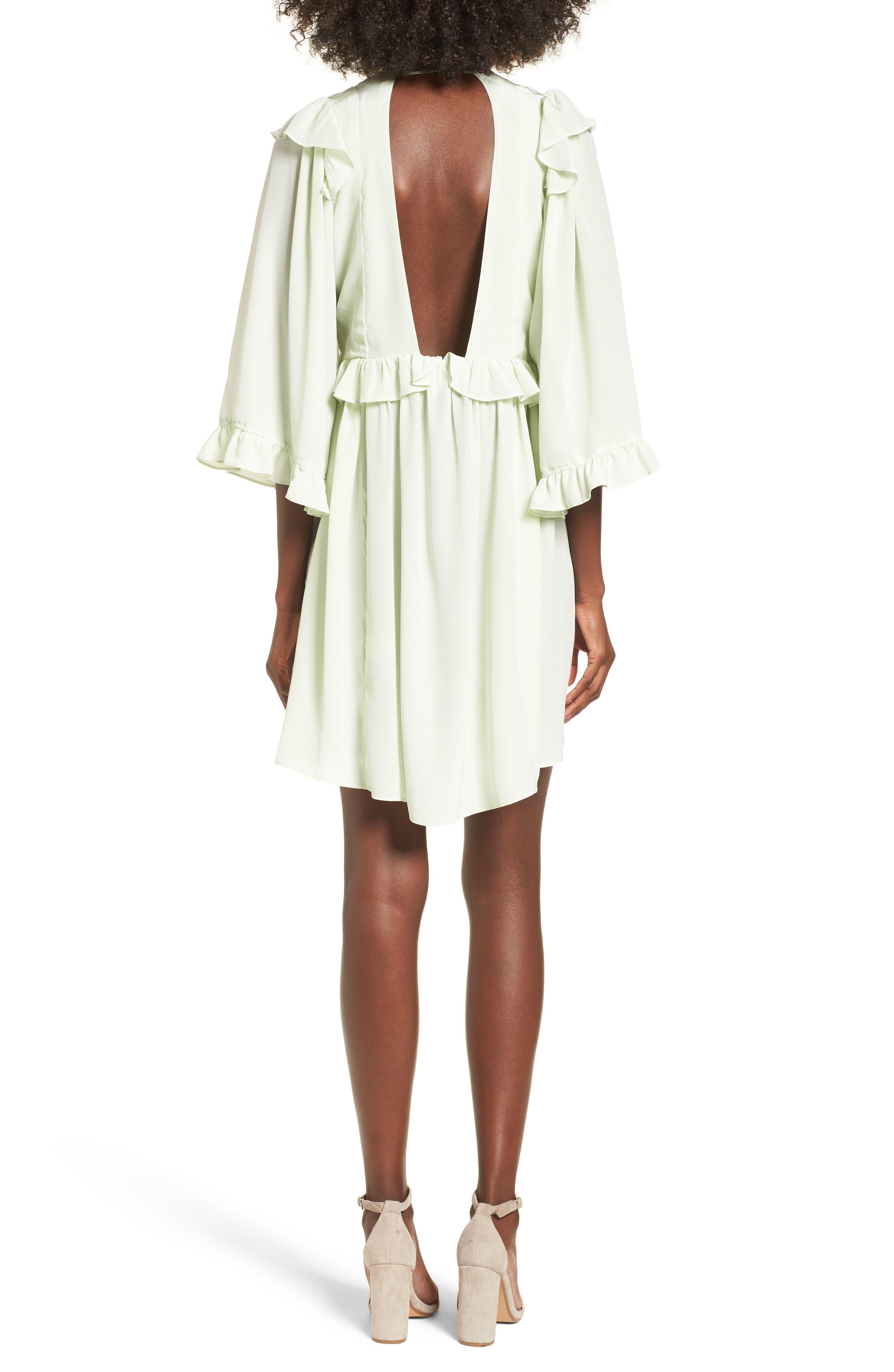 Angeles Babydoll Dress,                             Alternate thumbnail 2, color,                             Baby Green Silk