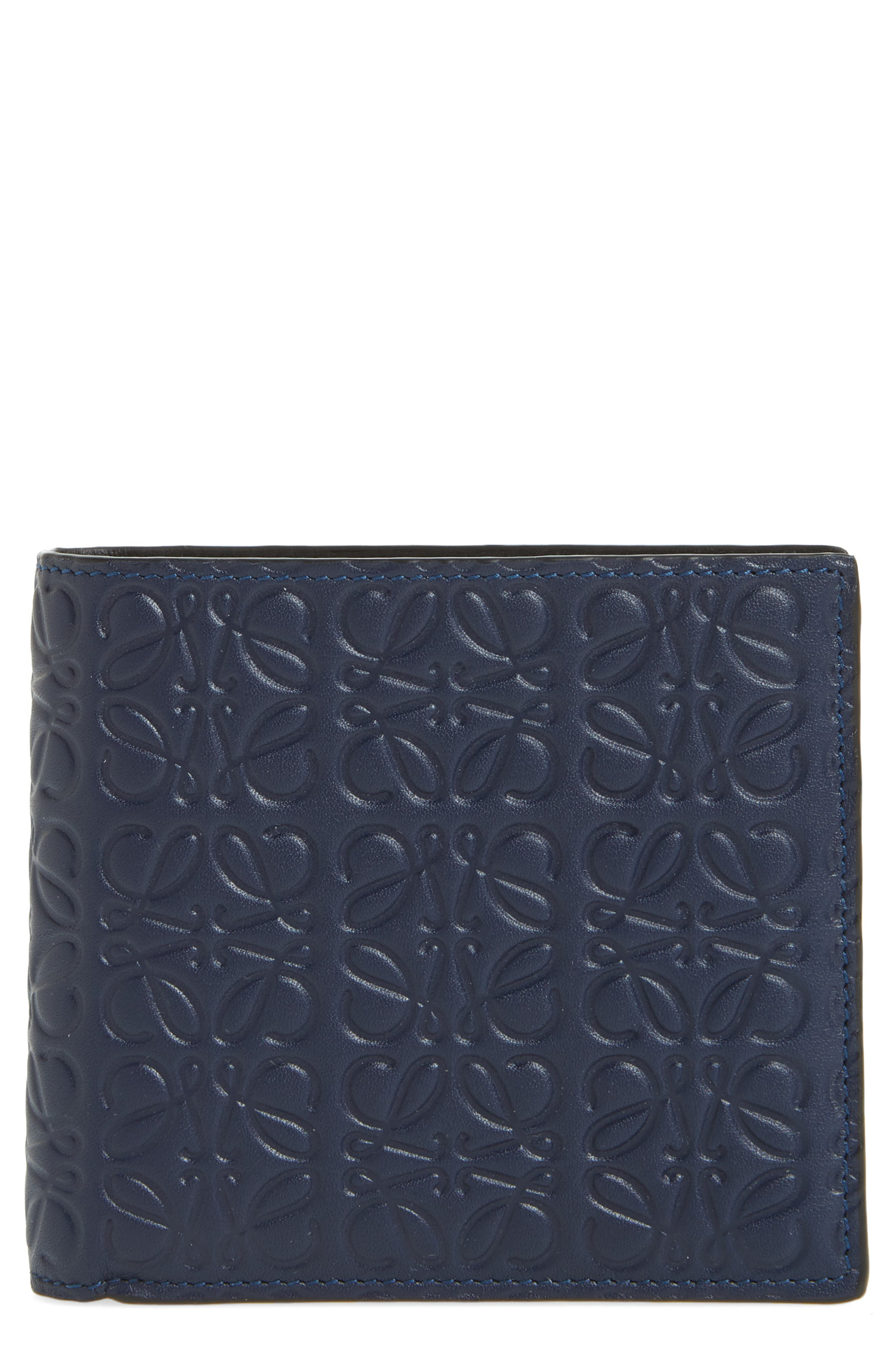 Bifold Leather Wallet,                             Main thumbnail 1, color,                             Marine