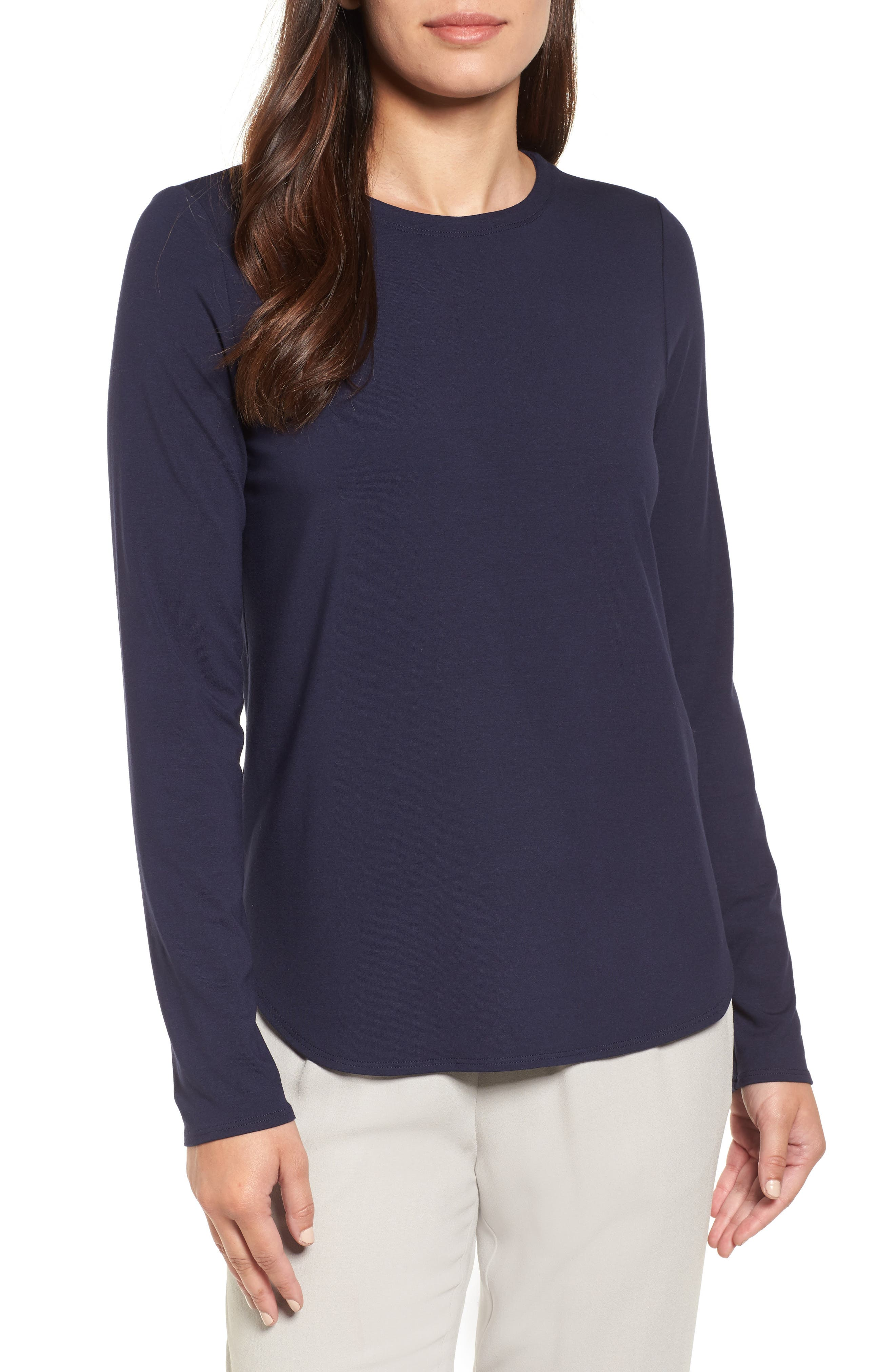 Crewneck Top,                         Main,                         color, Midnight