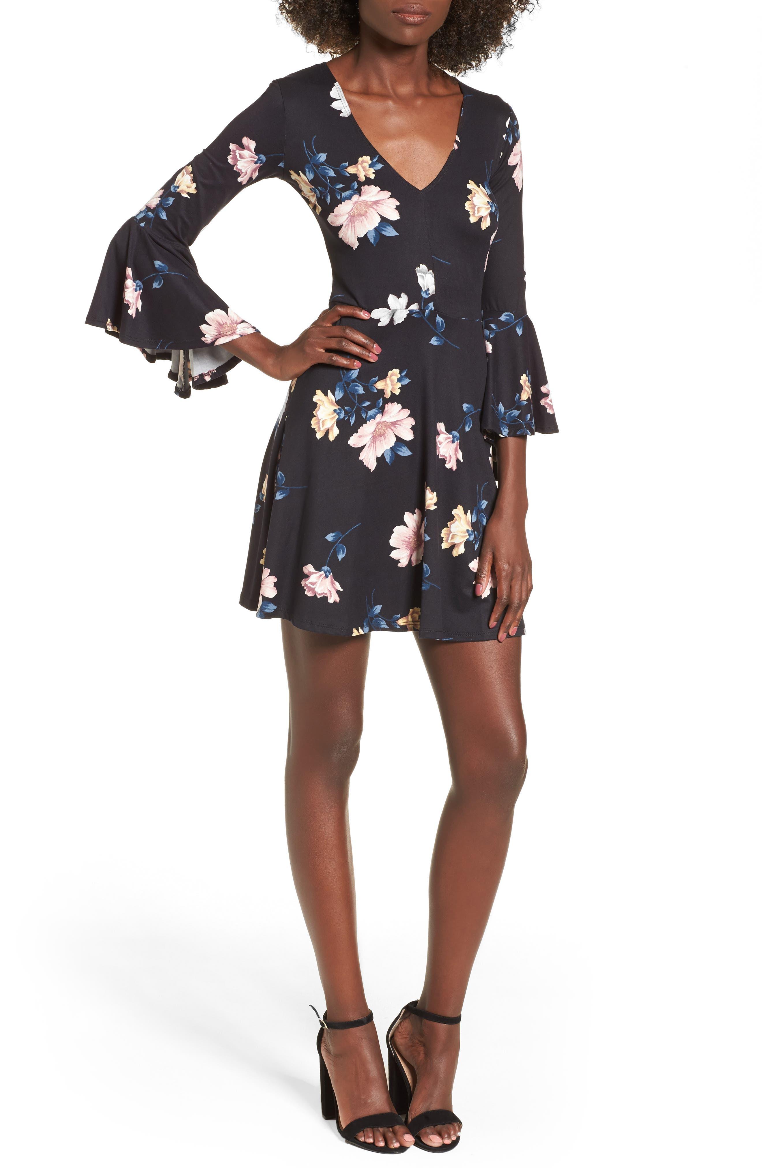 Alternate Image 1 Selected - Socialite Bell Sleeve Knit Dress