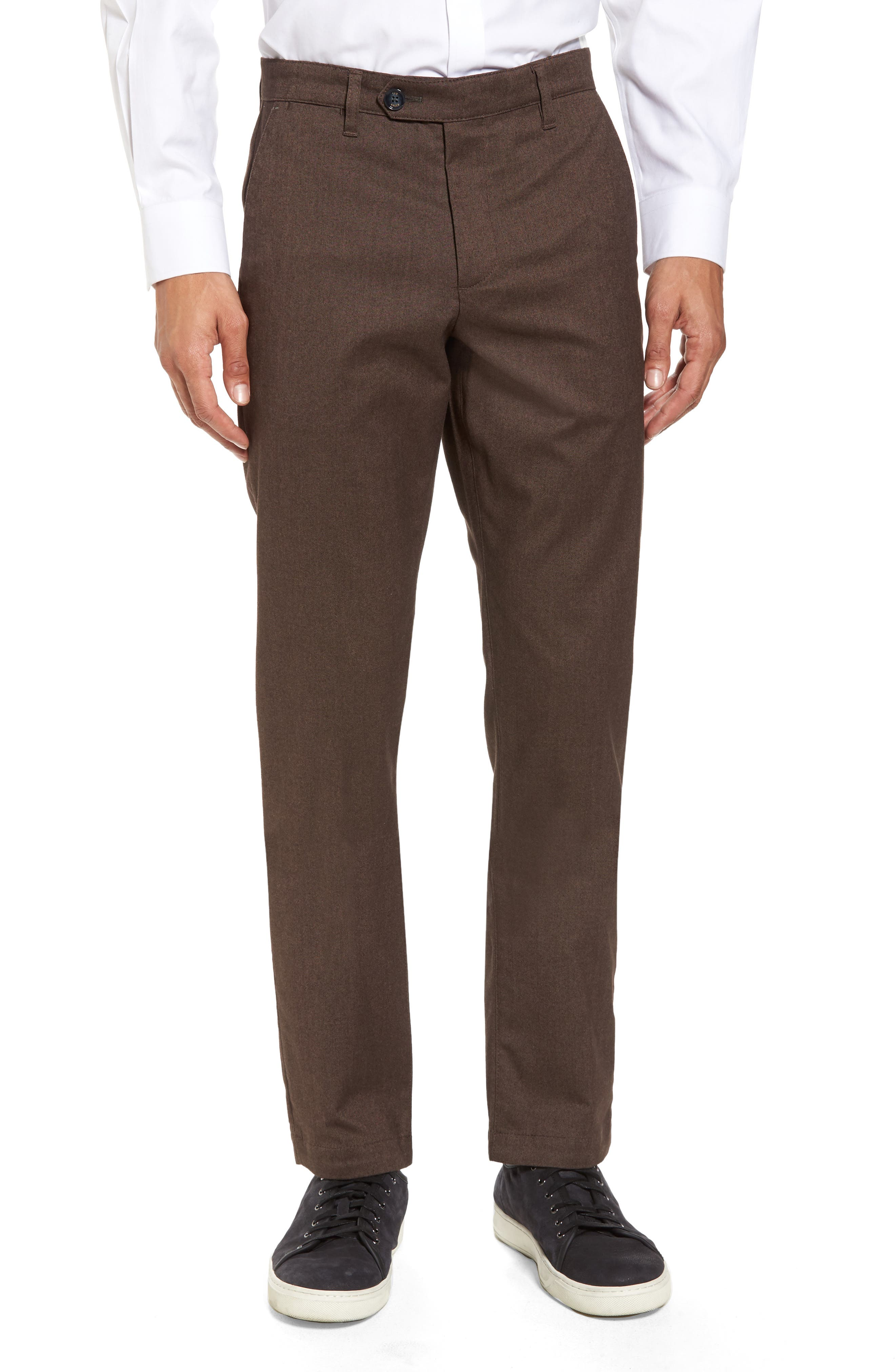 Freshman Modern Fit Brushed Pants,                         Main,                         color, Brown