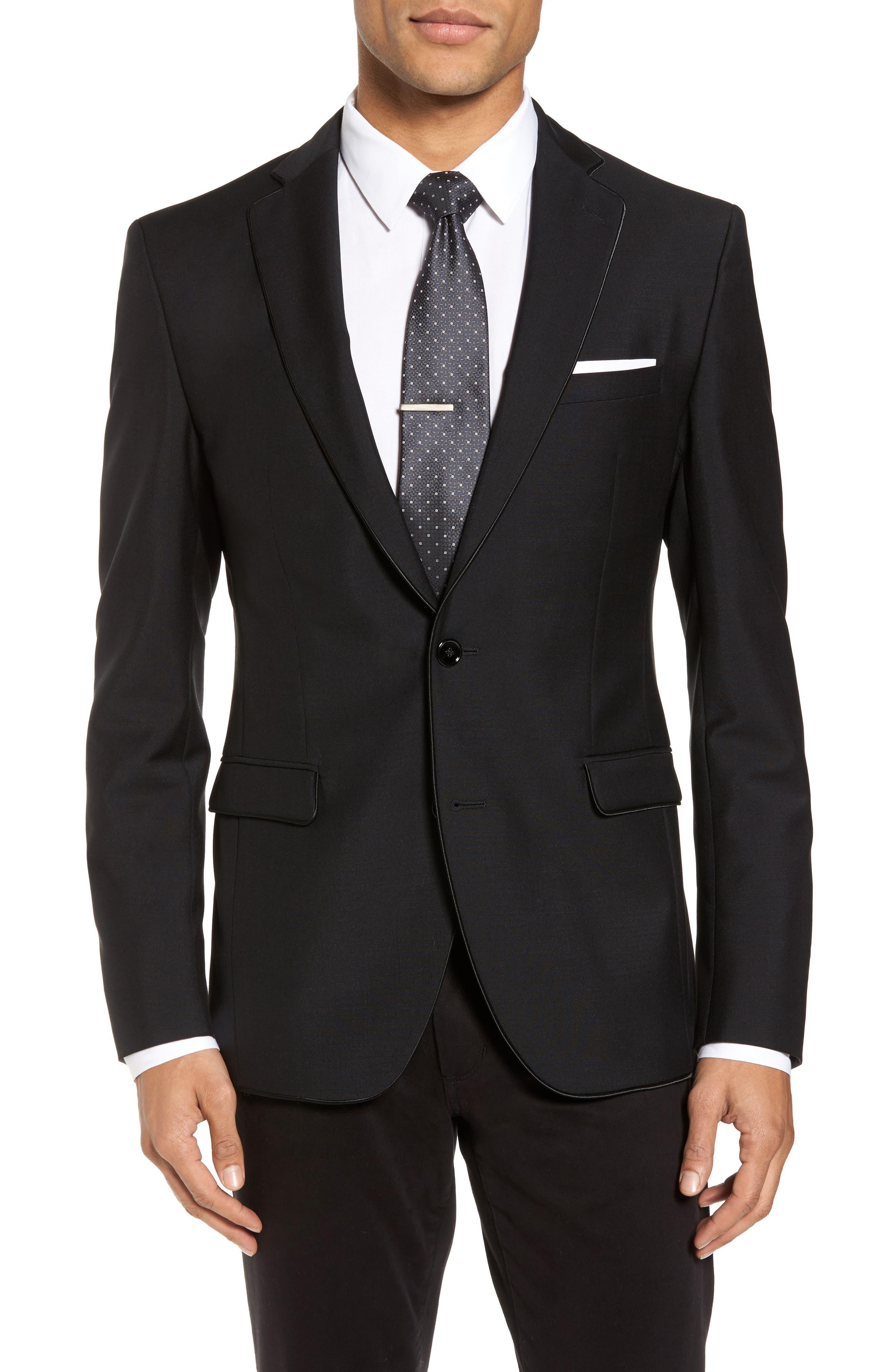 Reman Extra Trim Fit Wool & Mohair Blazer,                         Main,                         color, Black
