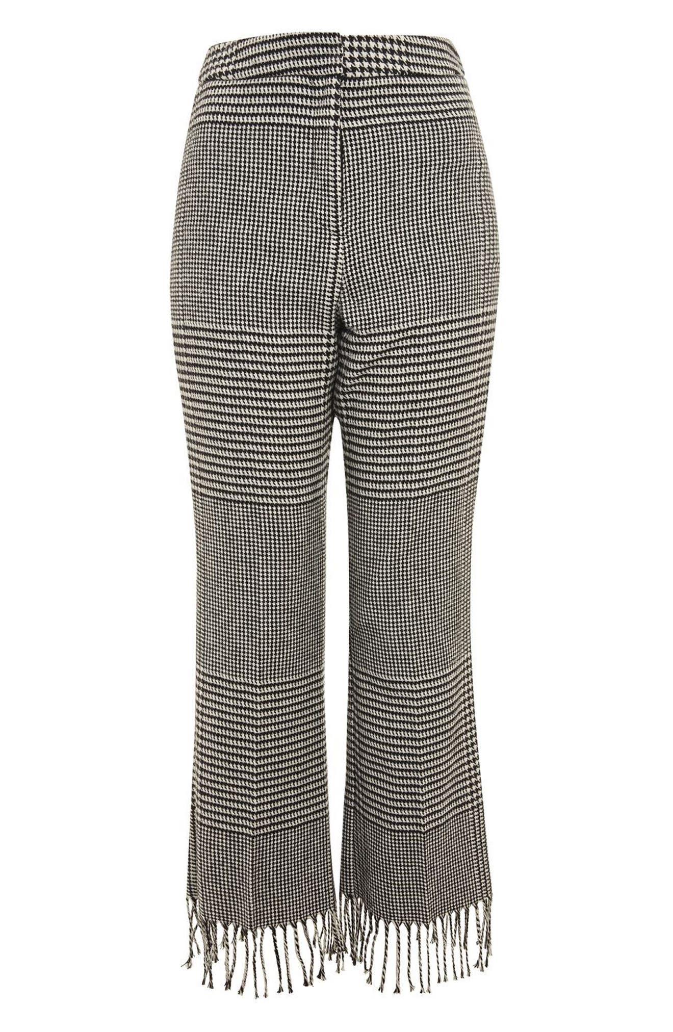 Fringe Hem Check Trousers,                             Alternate thumbnail 4, color,                             Black Multi