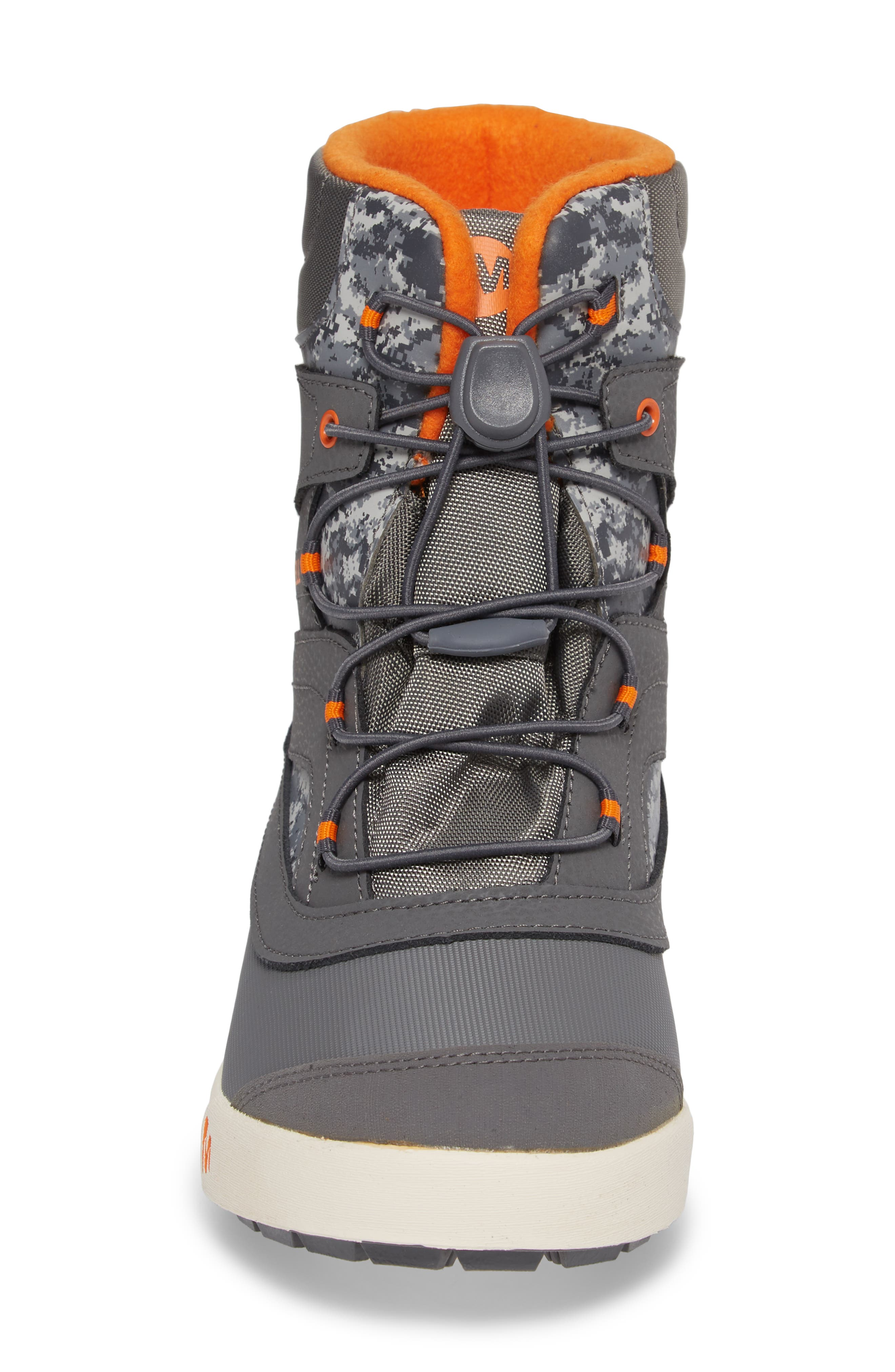 Snow Bank 2 Insulated Waterproof Boot,                             Alternate thumbnail 4, color,                             Grey/ Orange
