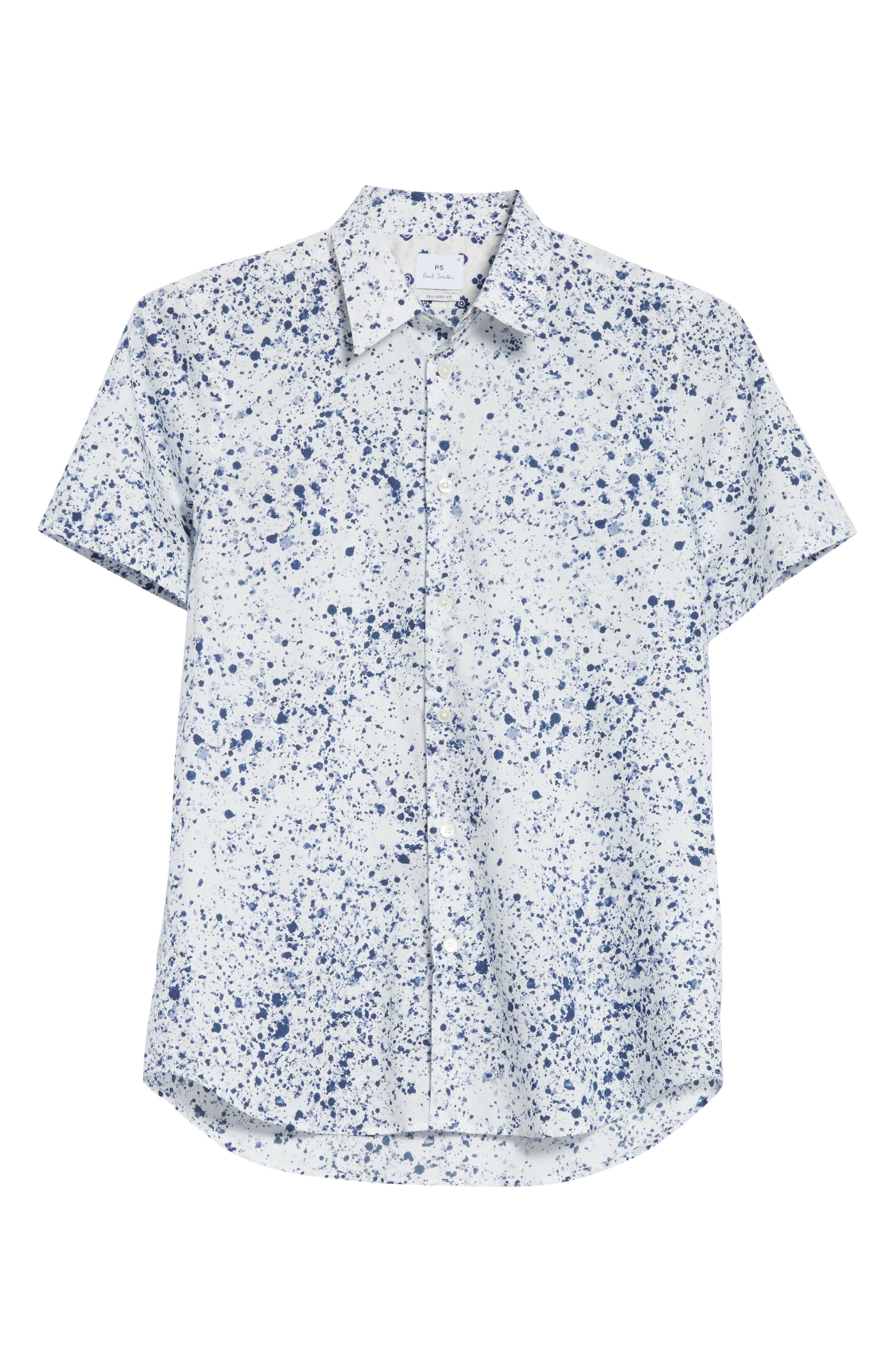 Splatter Print Shirt,                             Alternate thumbnail 6, color,                             White