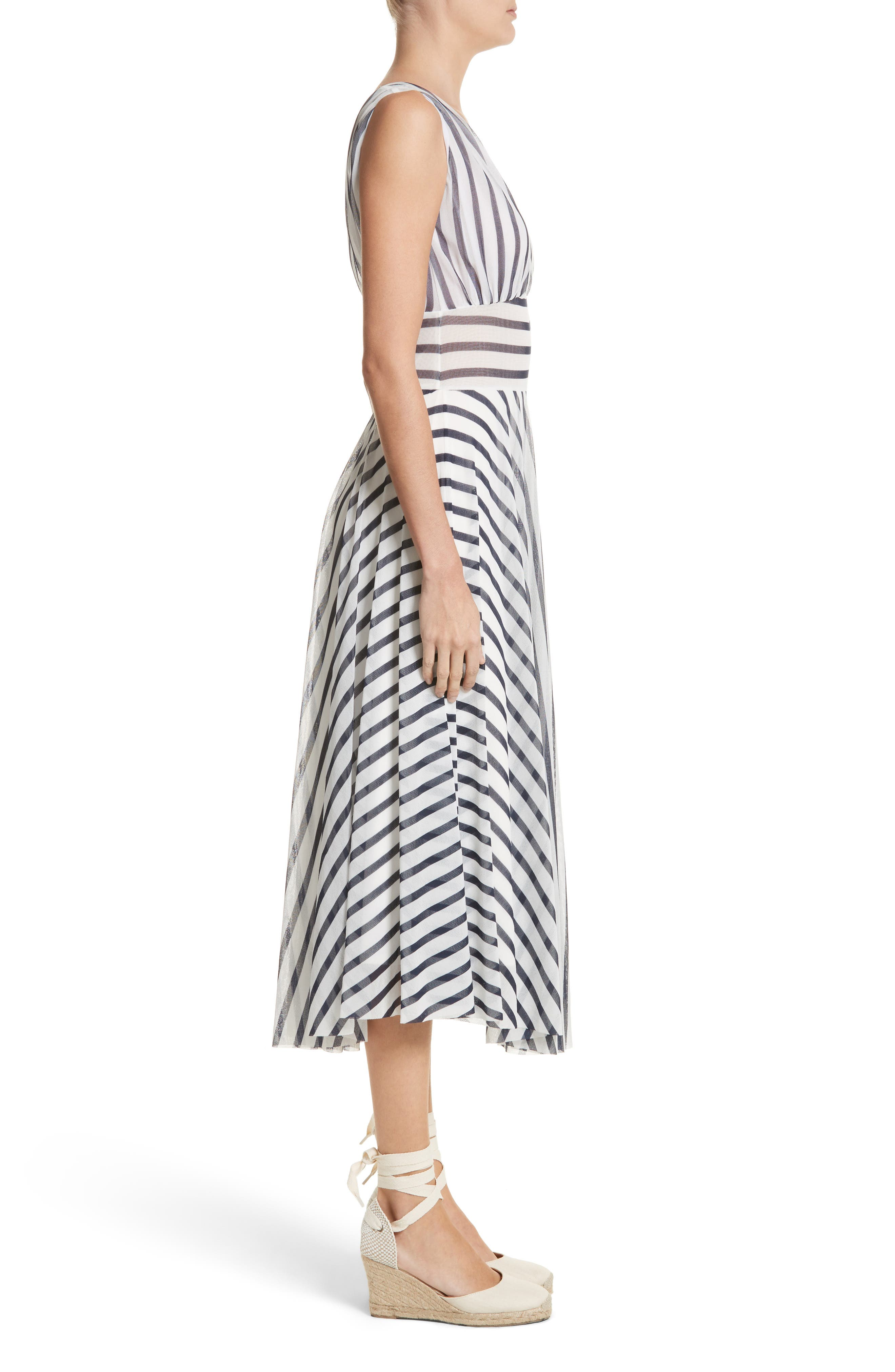 Multistripe Midi Dress,                             Alternate thumbnail 3, color,                             Cocco