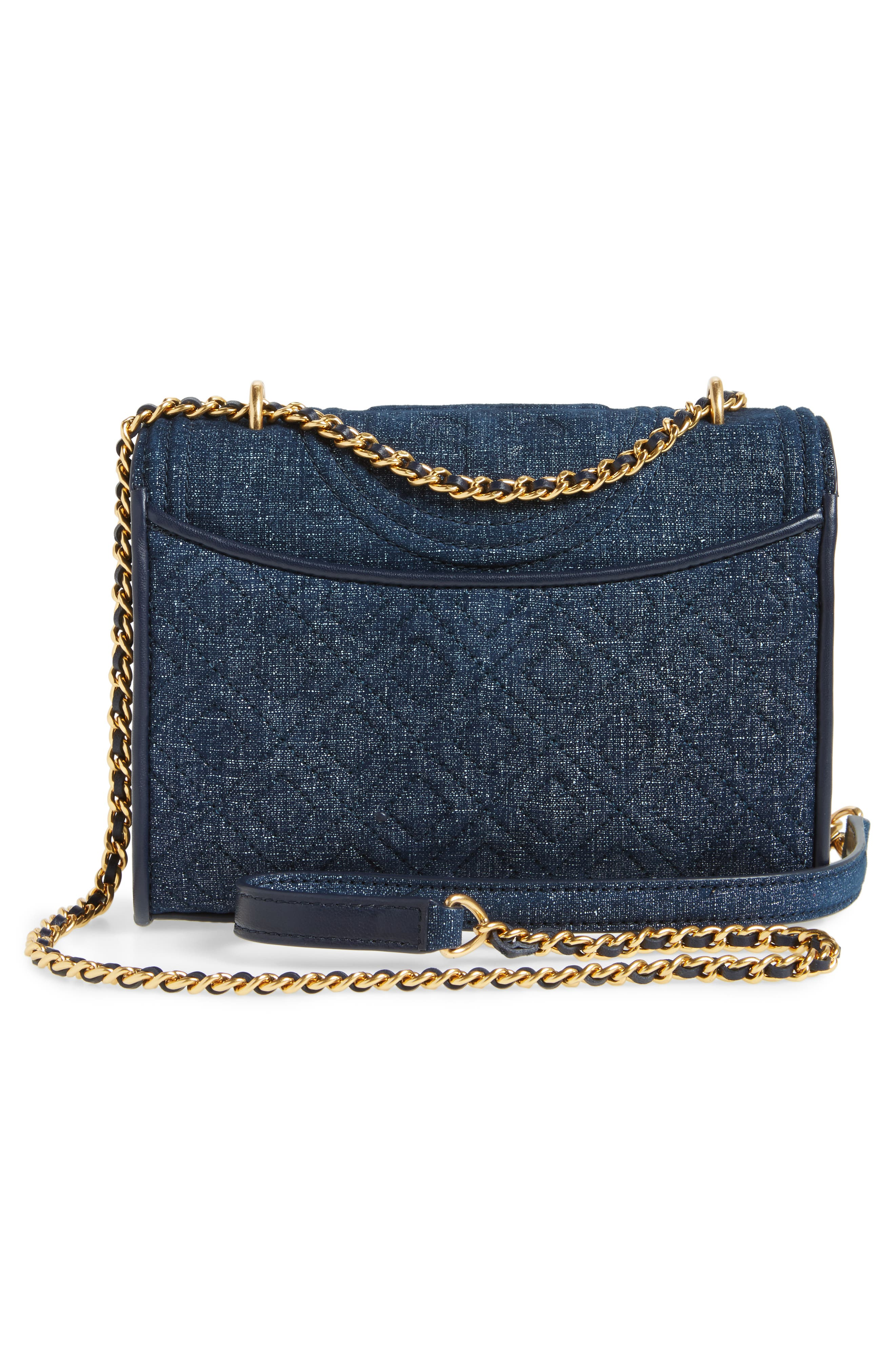 Small Fleming Logo Quilted Denim Shoulder/Crossbody Bag,                             Alternate thumbnail 3, color,                             Tory Navy