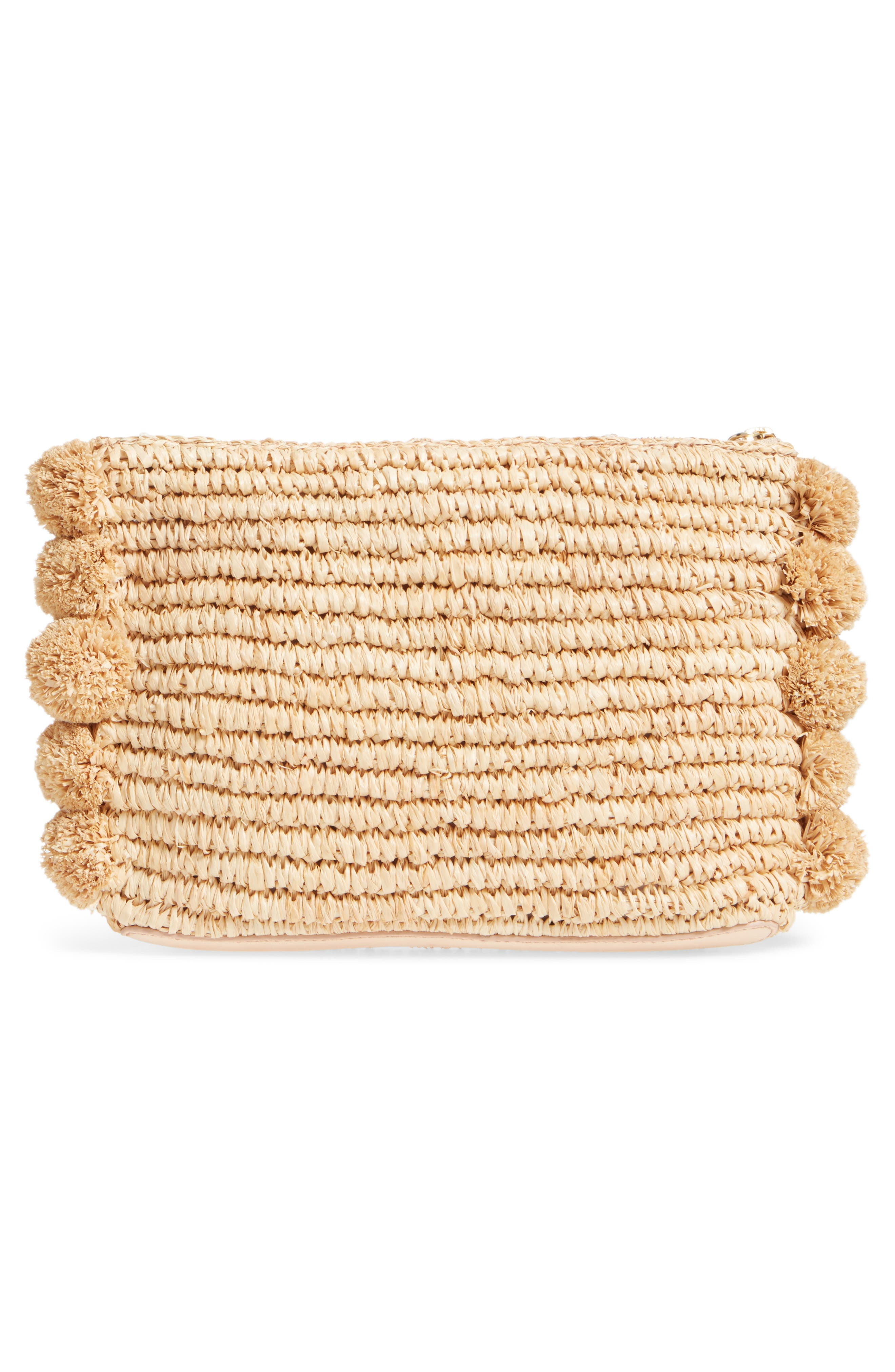 Straw Tassel Pouch,                             Alternate thumbnail 3, color,                             Natural