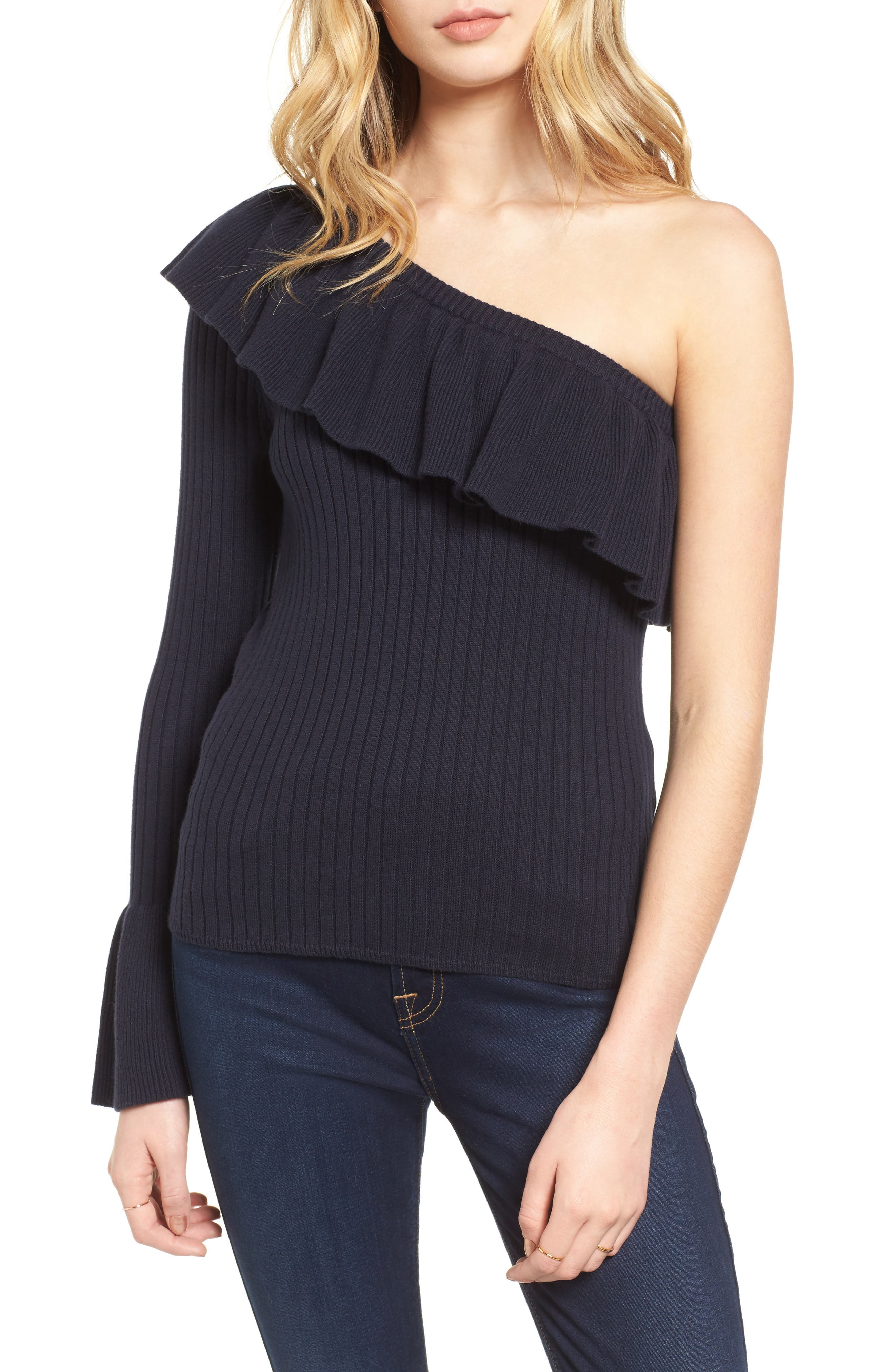 Ava One Shoulder Cotton & Cashmere Sweater,                             Main thumbnail 1, color,                             Navy