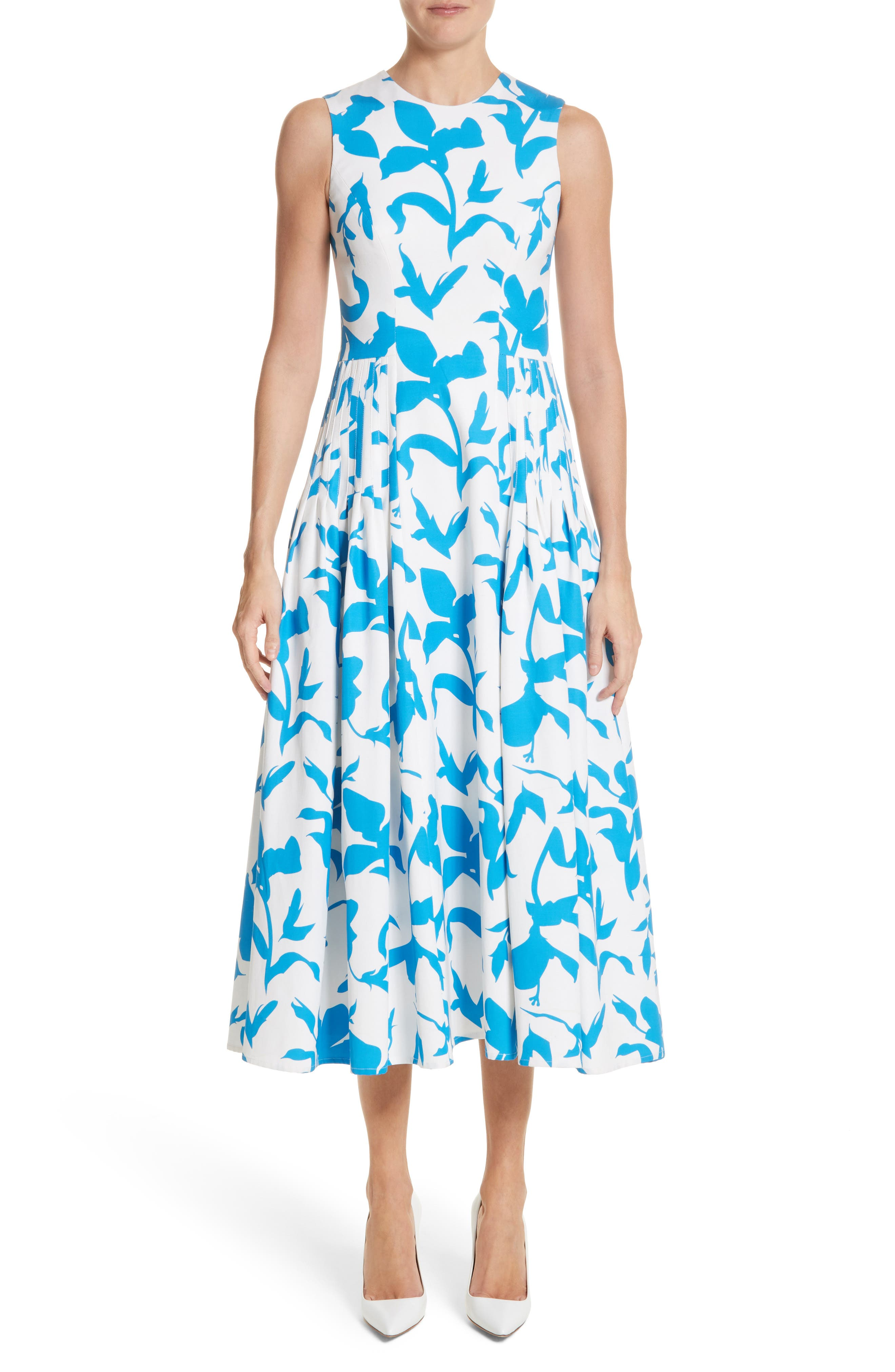 Pleated A-Line Midi Dress,                         Main,                         color, White/ Cerulean