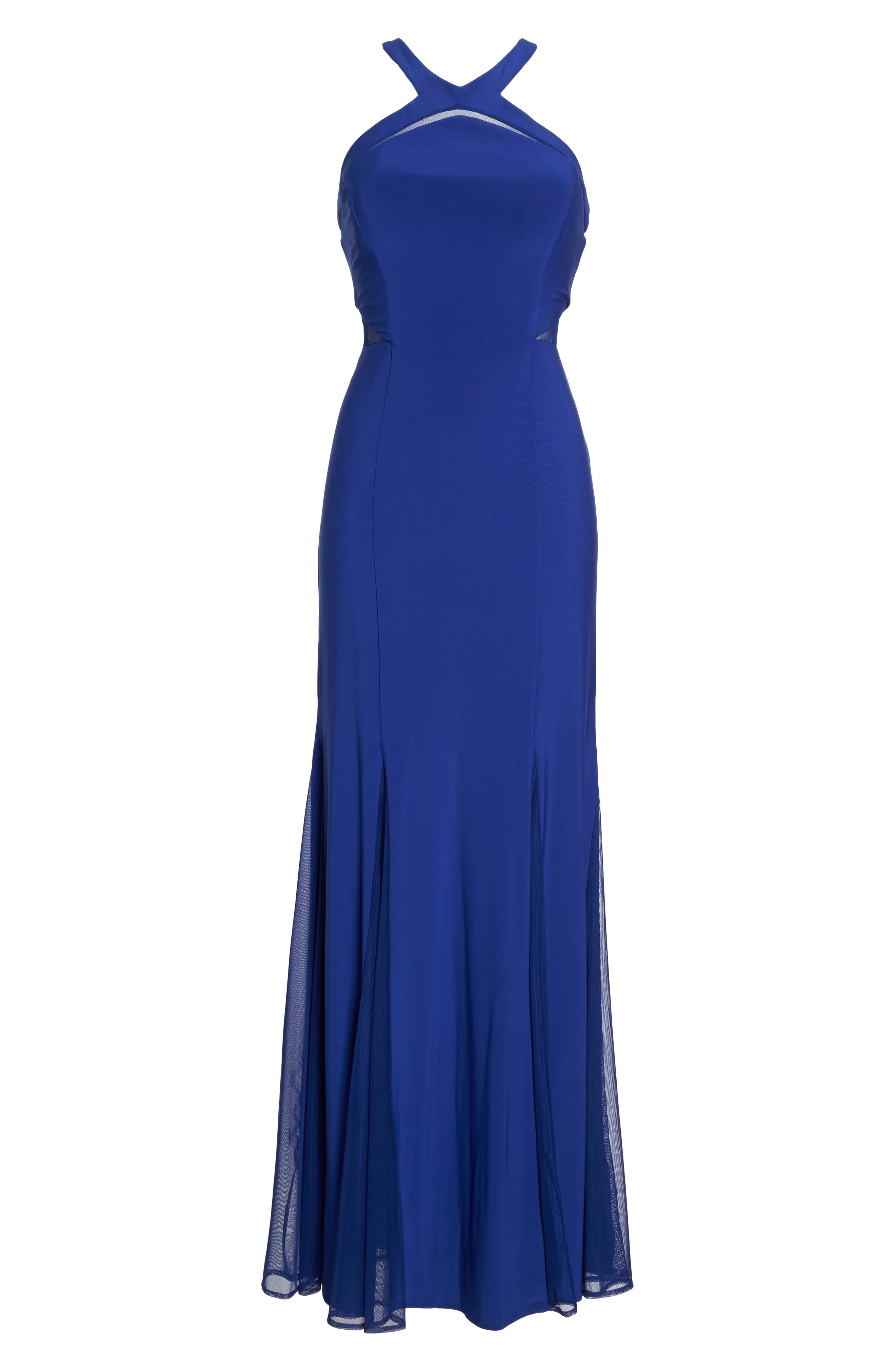 Alternate Image 6  - Morgan & Co. Mesh Inset Knit Mermaid Gown