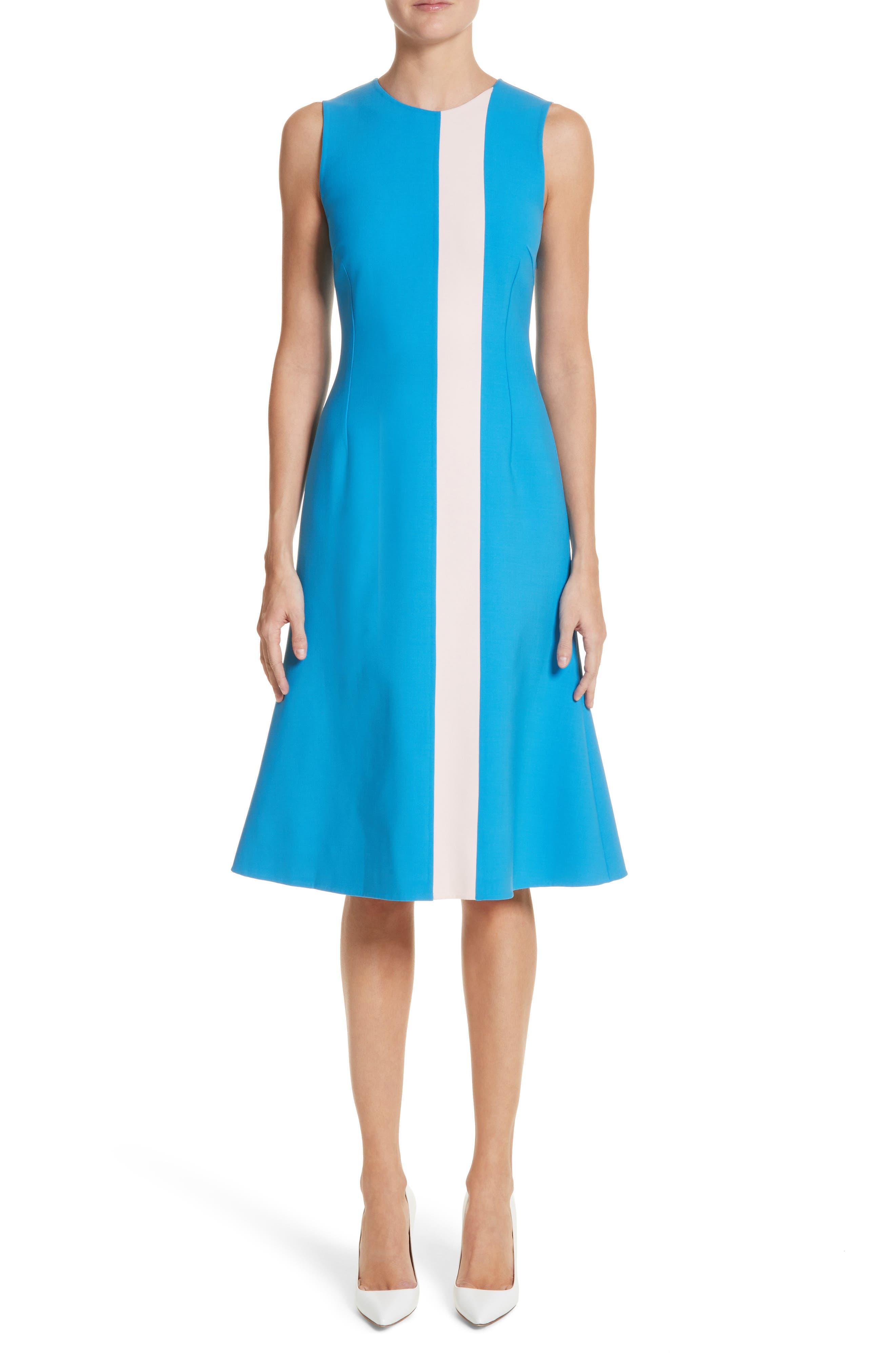 Vertical Stripe Dress,                             Main thumbnail 1, color,                             Cerulean/ Lotus Pink