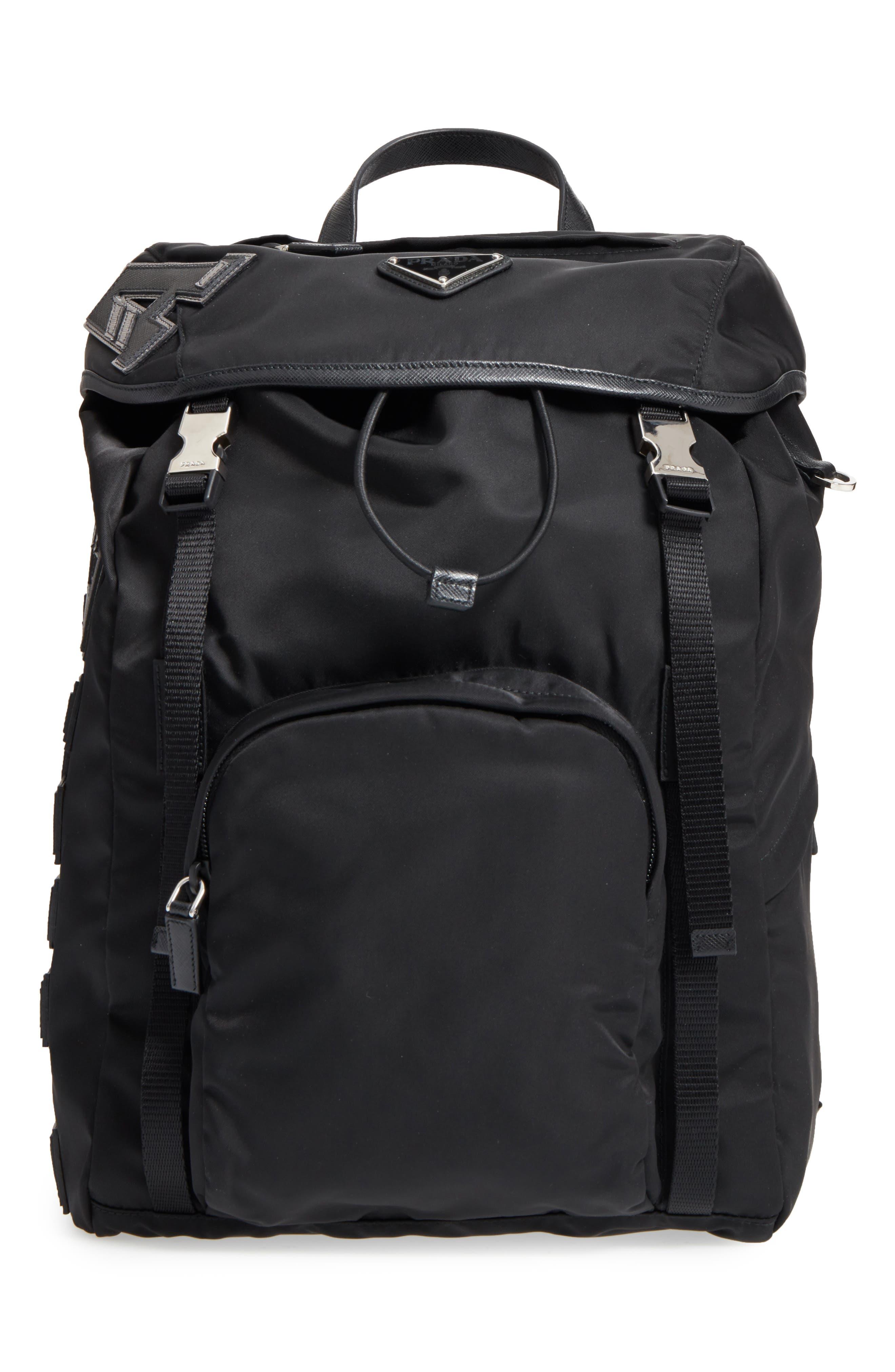 Tessuto Lettering Unisex Nylon Backpack,                         Main,                         color, Nero 1