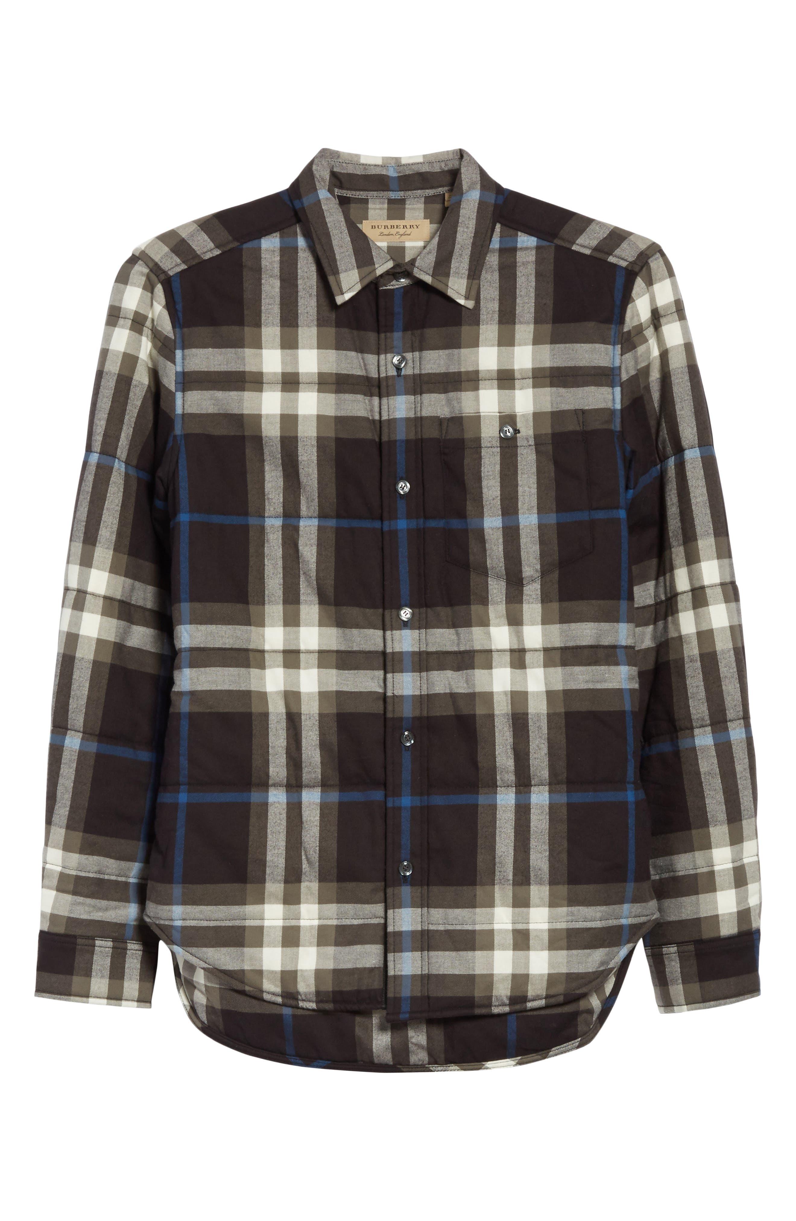 Walsden Plaid Flannel Shirt Jacket,                             Alternate thumbnail 6, color,                             Black
