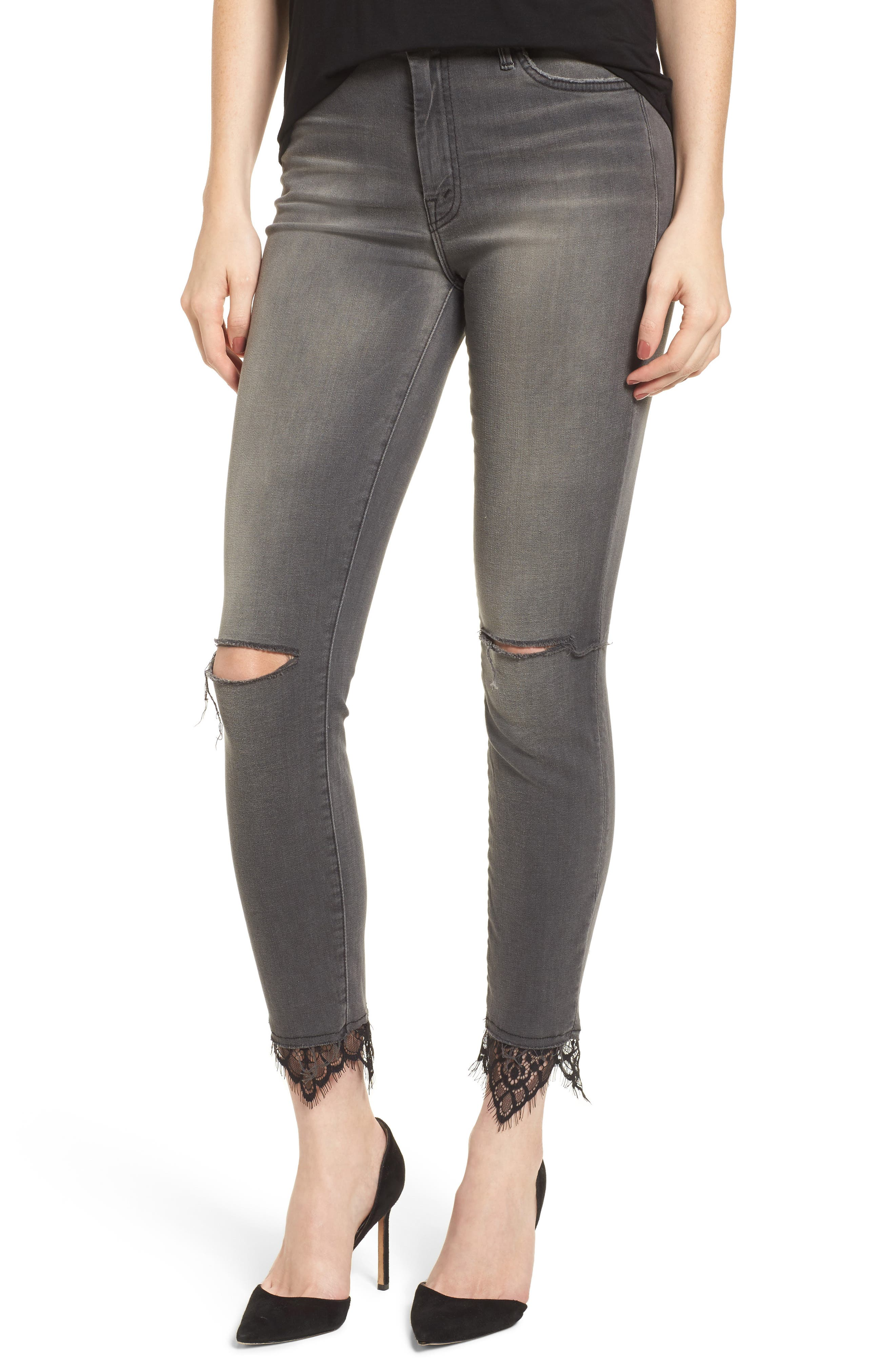 The Looker High Waist Ankle Skinny Jeans,                             Main thumbnail 1, color,                             Lacey Saloon