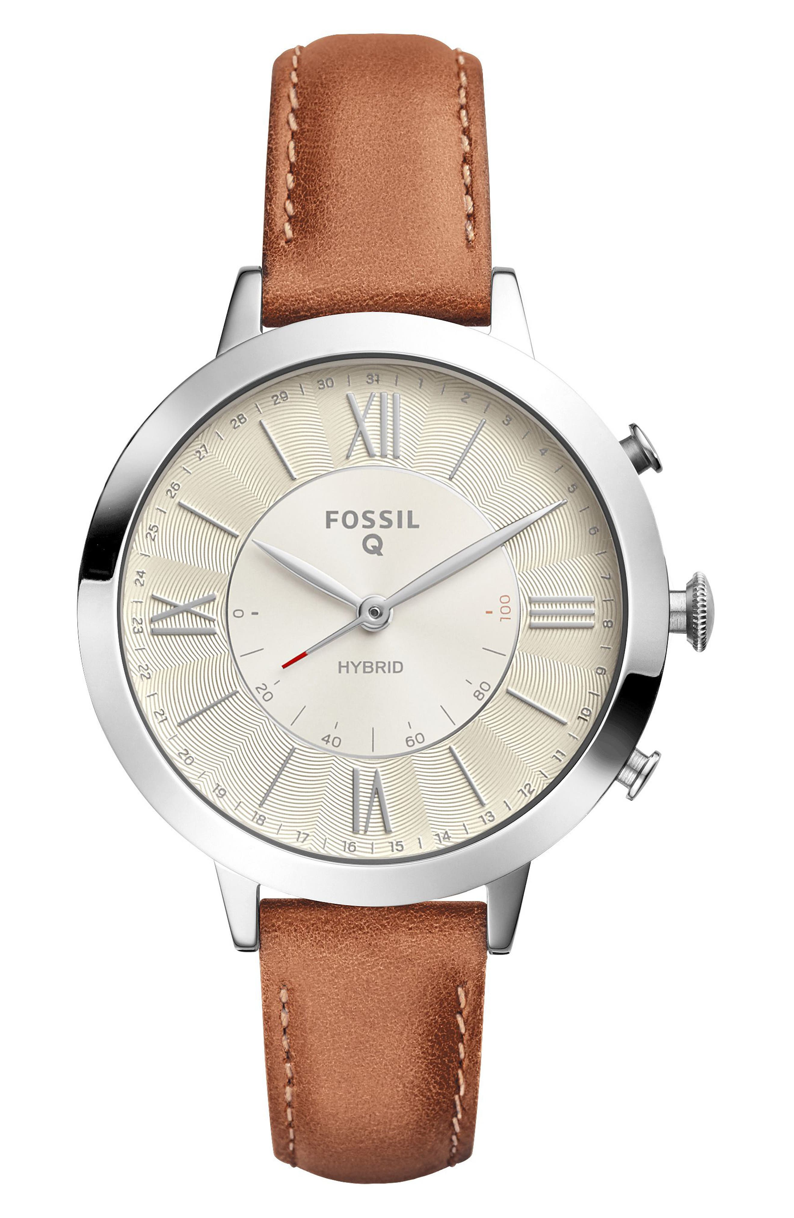Main Image - Fossil Q Jacqueline Leather Strap Hybrid Smart Watch, 36mm