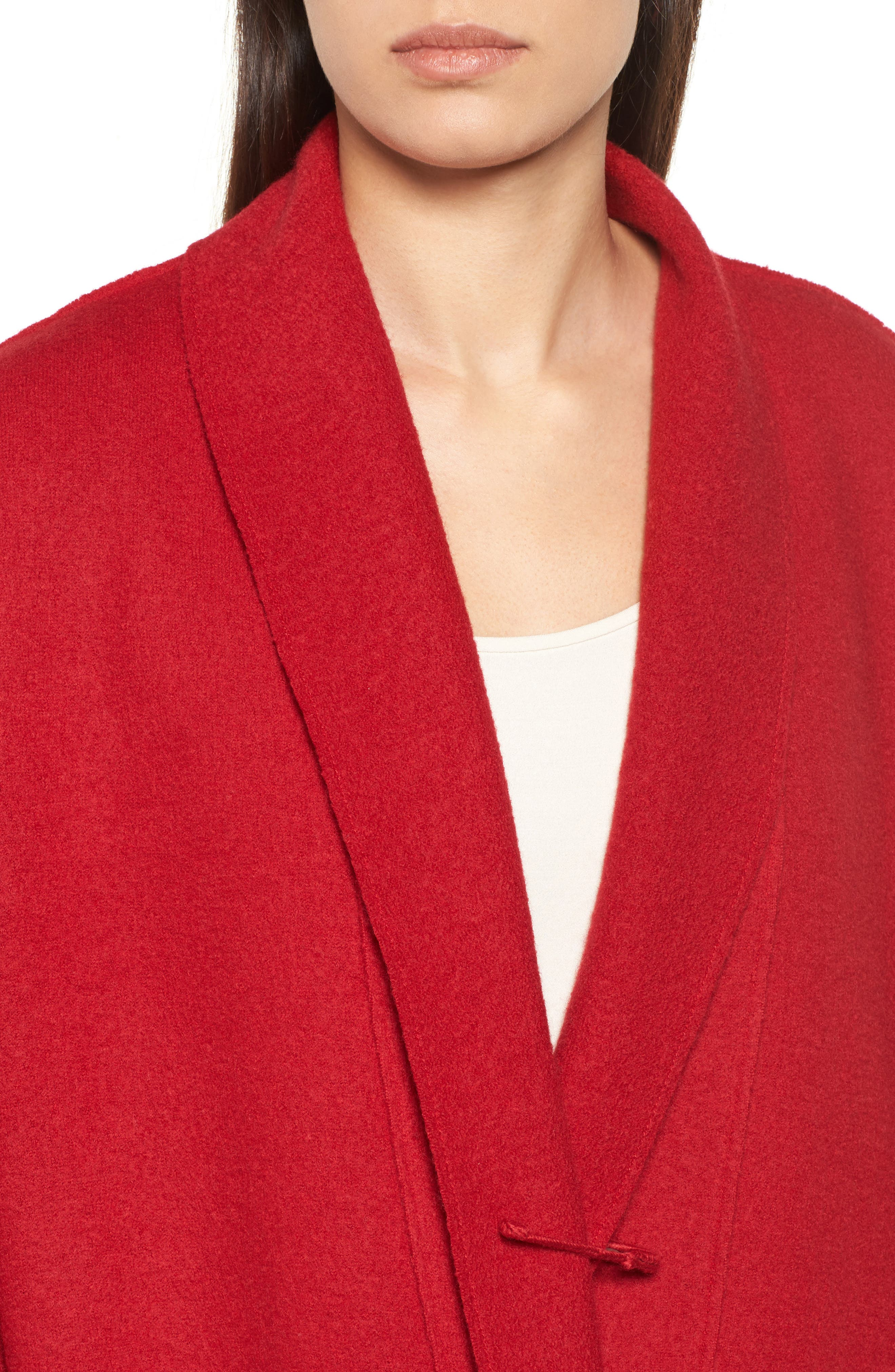 Boiled Wool Shawl Collar Jacket,                             Alternate thumbnail 5, color,                             Lacquer