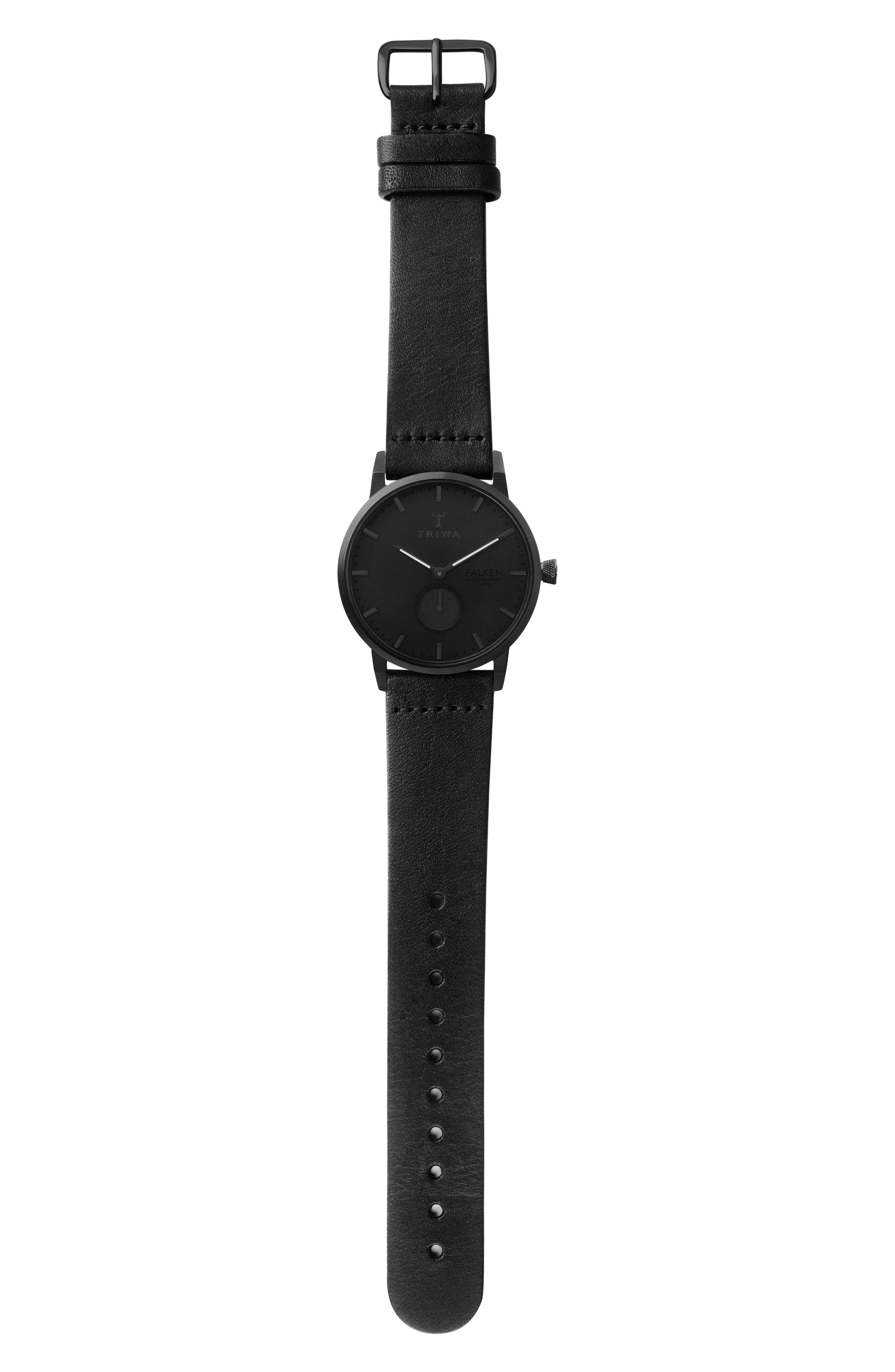 Midnight Falken Leather Strap Watch, 38mm,                             Alternate thumbnail 3, color,                             Black