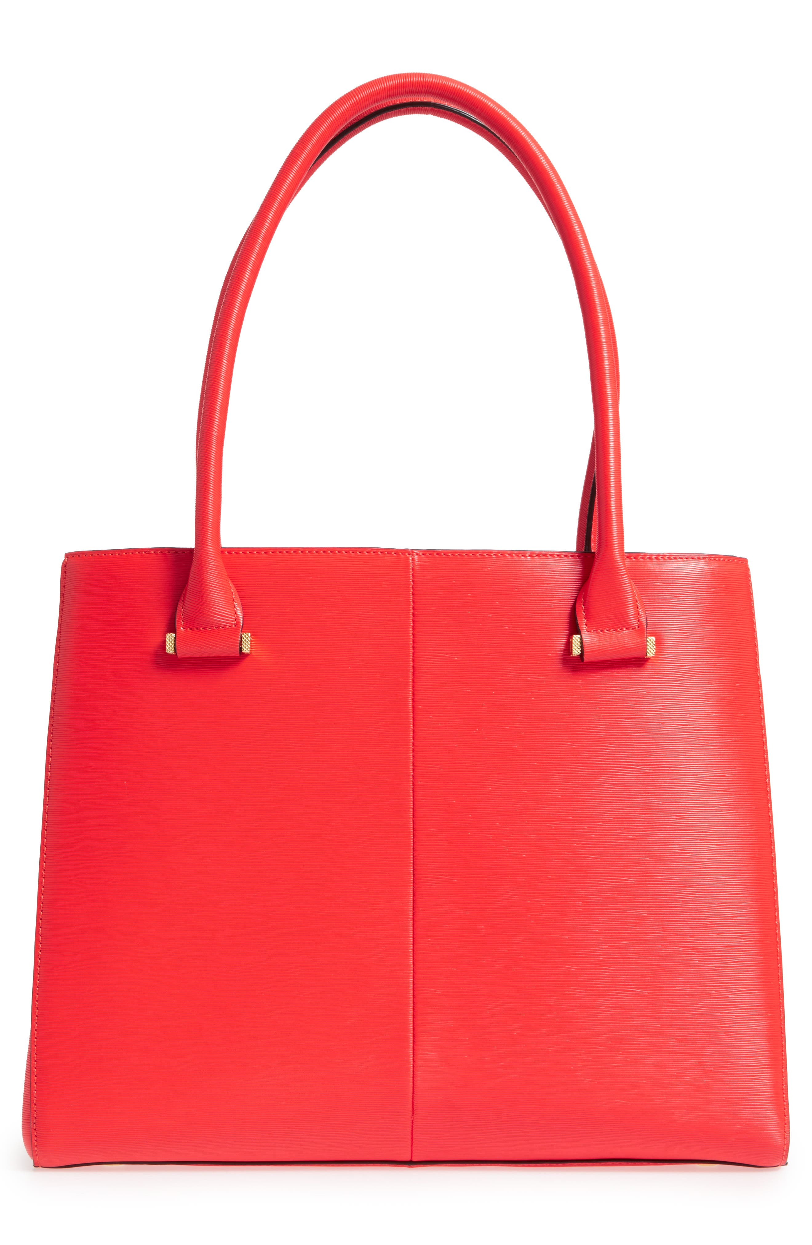 Callaa Bow Leather Shopper,                             Alternate thumbnail 2, color,                             Bright Red