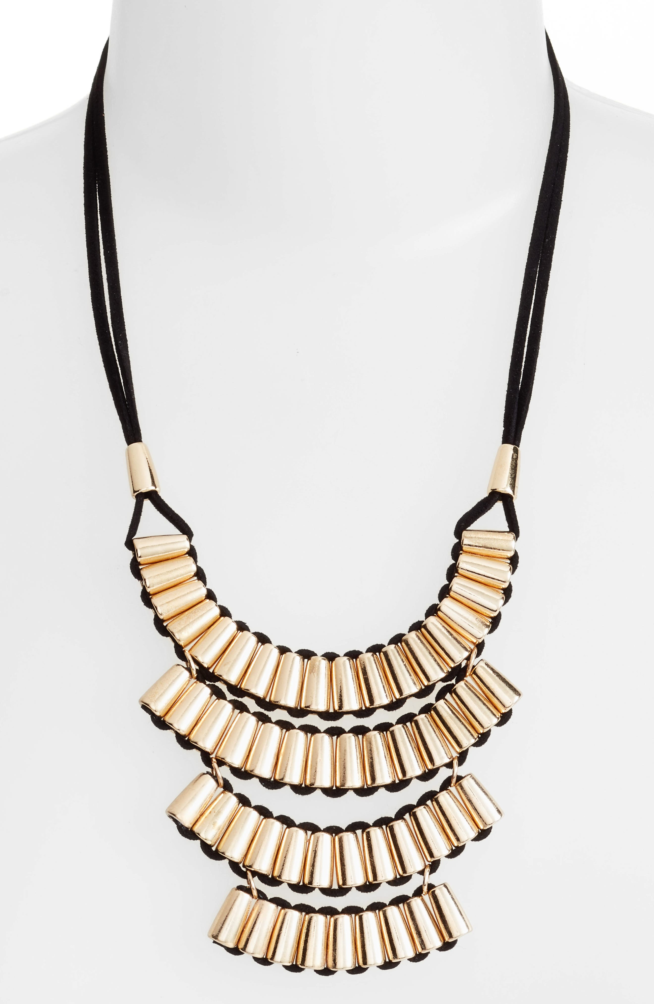 Metal Tube Suede Necklace,                         Main,                         color, Gold/ Black