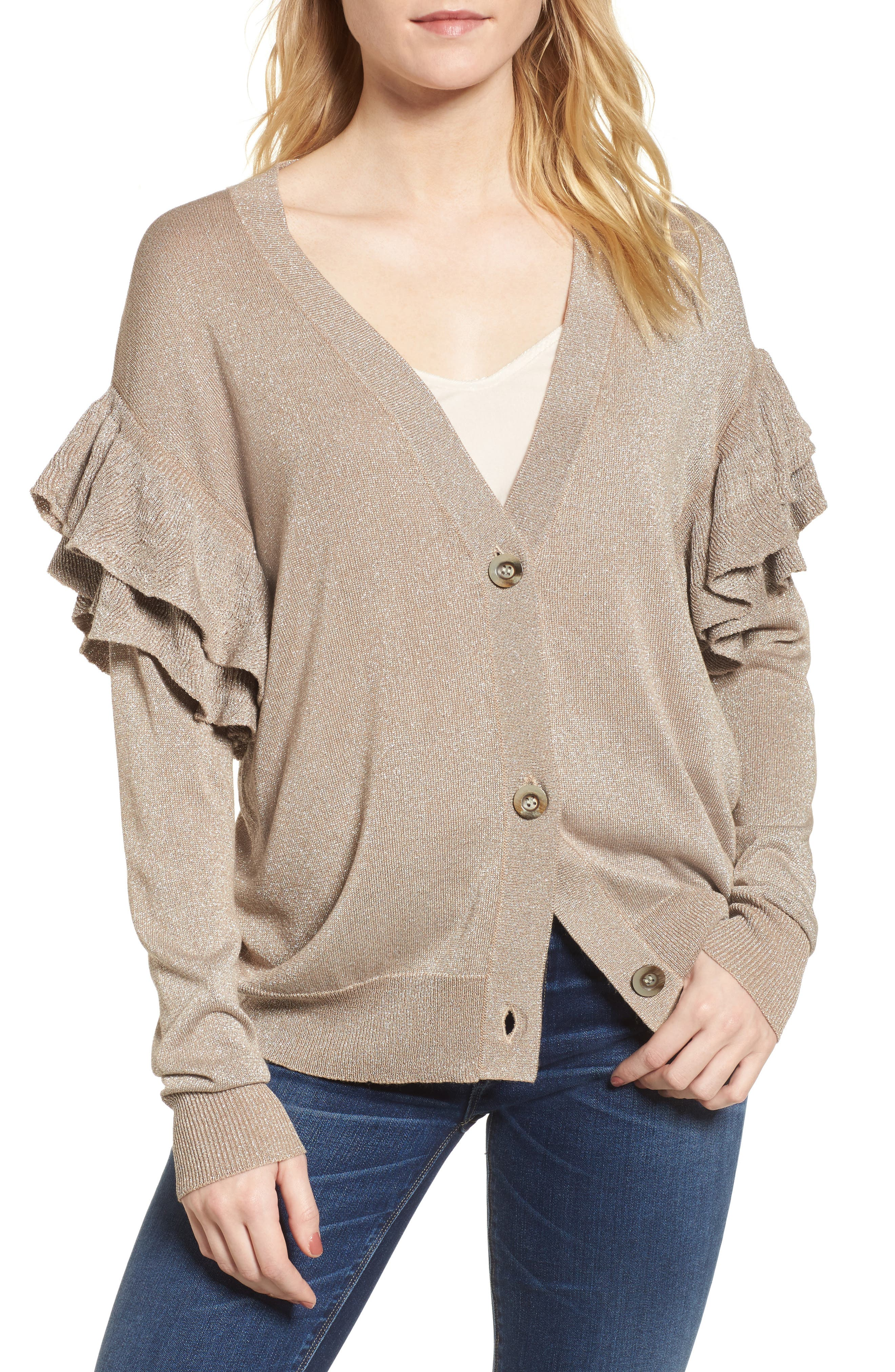 Alternate Image 1 Selected - Line & Dot Hull Ruffle Cardigan