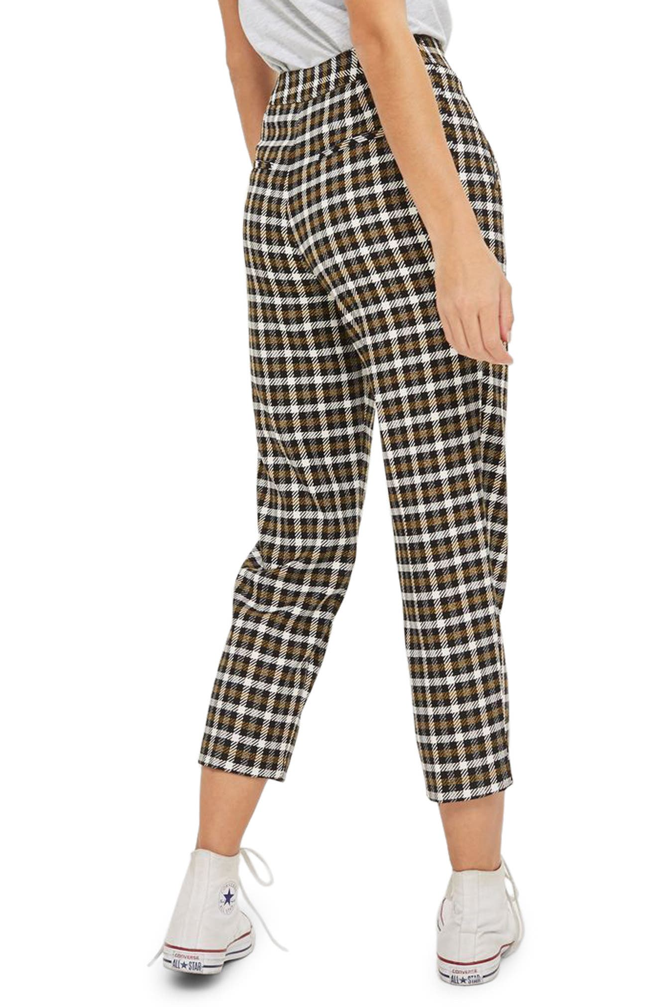 Alternate Image 2  - Topshop Monica Checked Peg Trousers