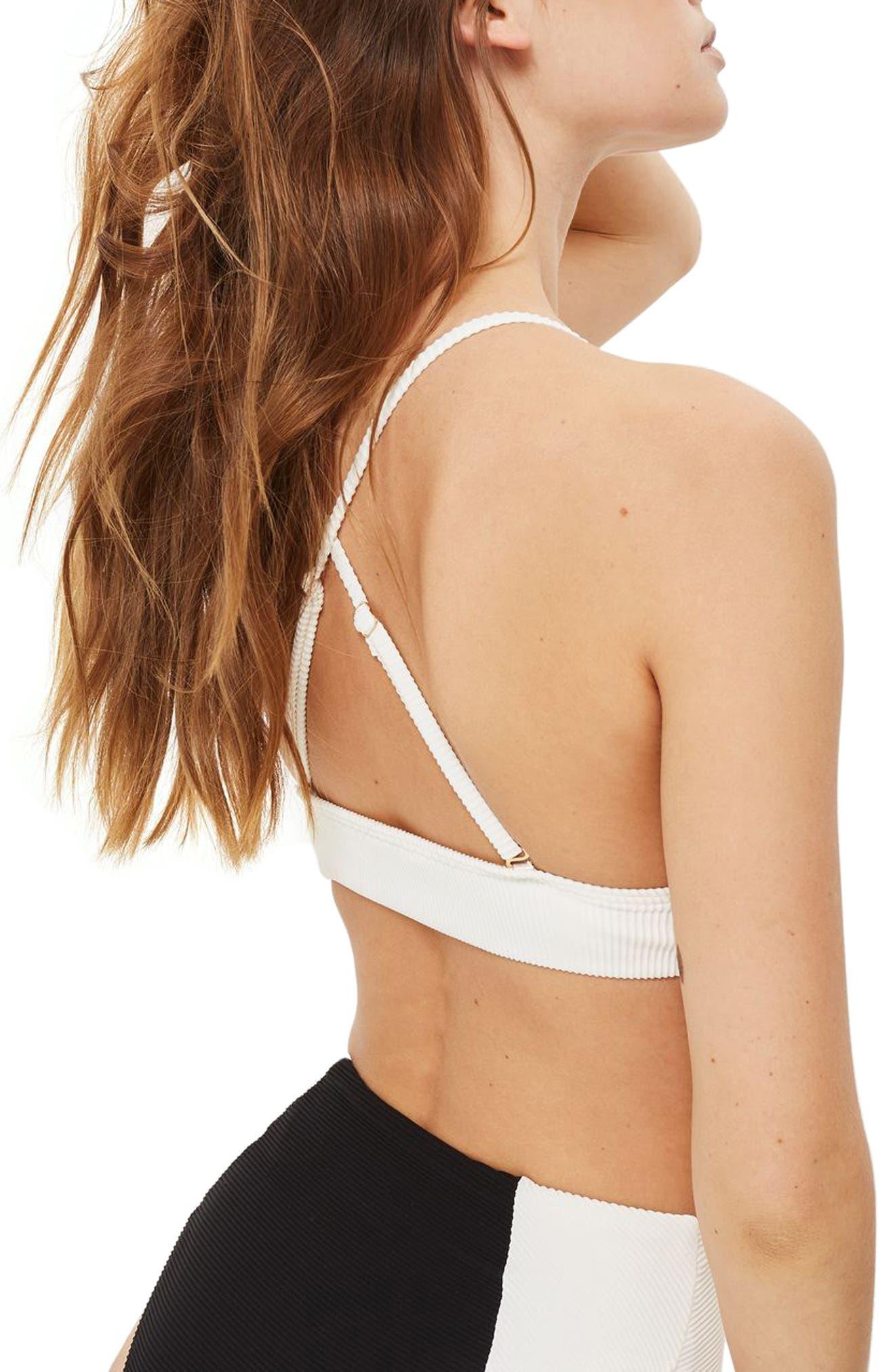 Ribbed Colorblock Triangle Bikini Top,                             Alternate thumbnail 2, color,                             Black Multi