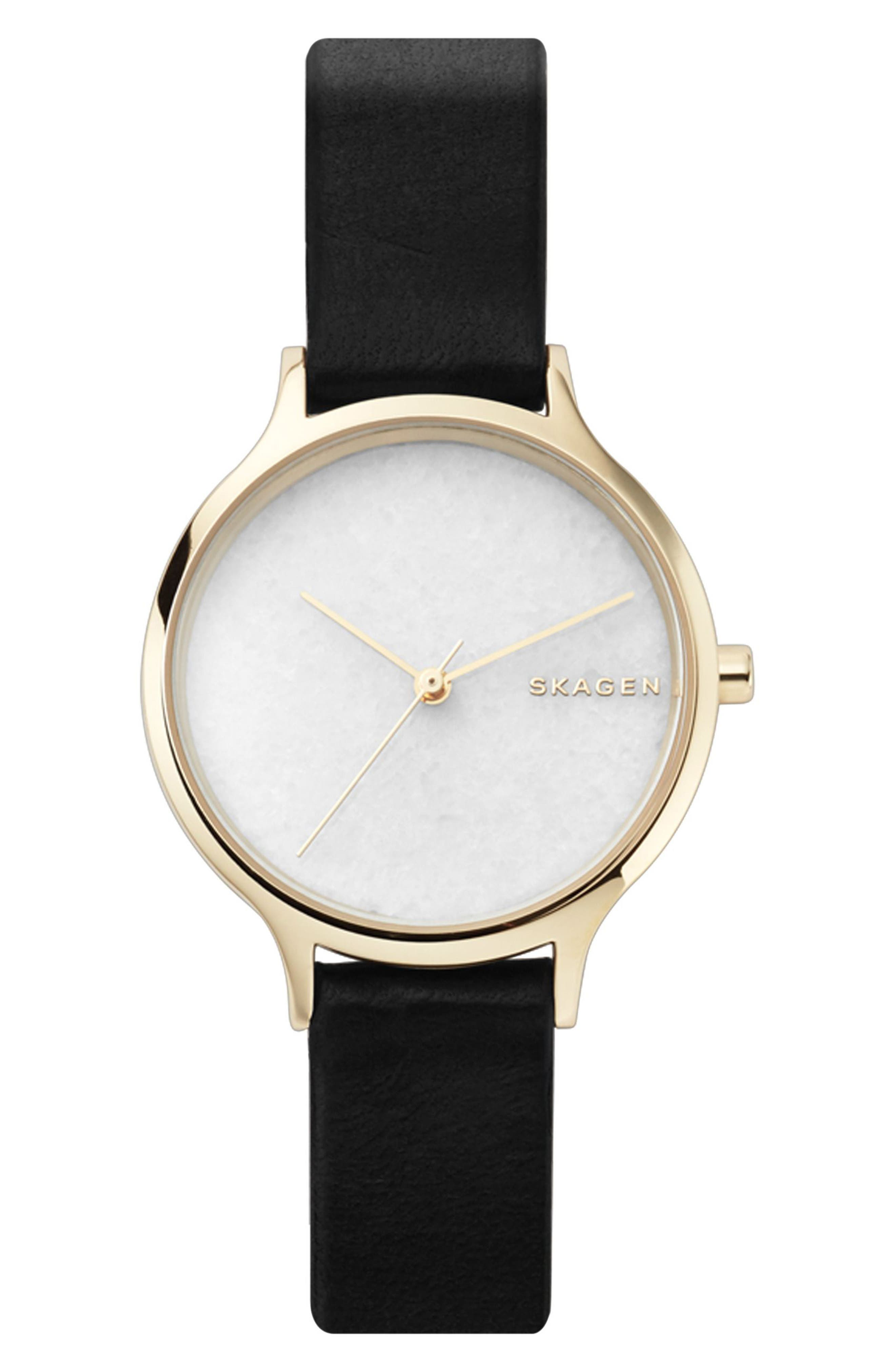 Anita Stone Dial Leather Strap Watch, 34mm,                         Main,                         color, Black/ White/ Gold