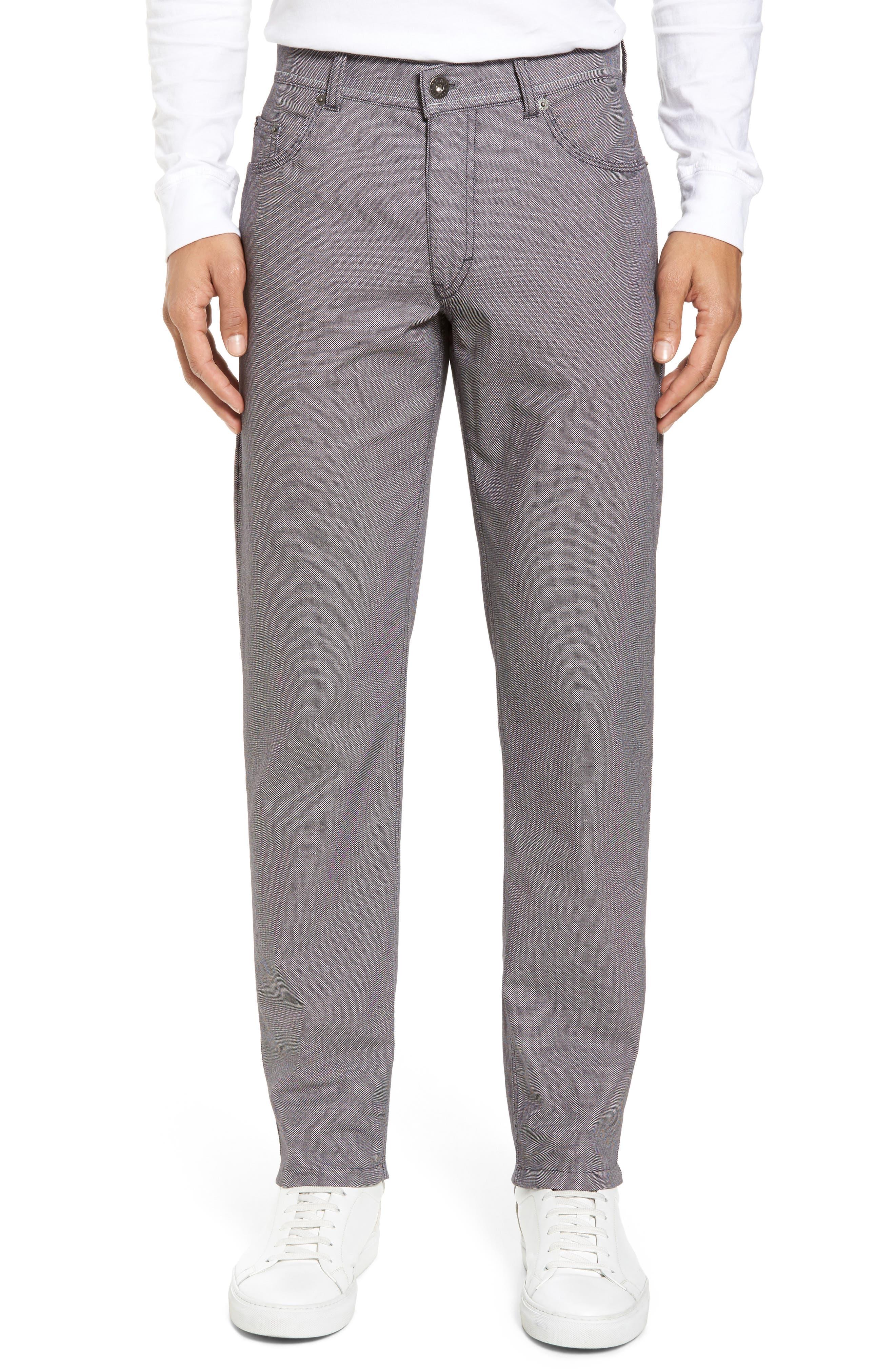Cooper Bird's Eye Stretch Cotton Pants,                         Main,                         color, Grey