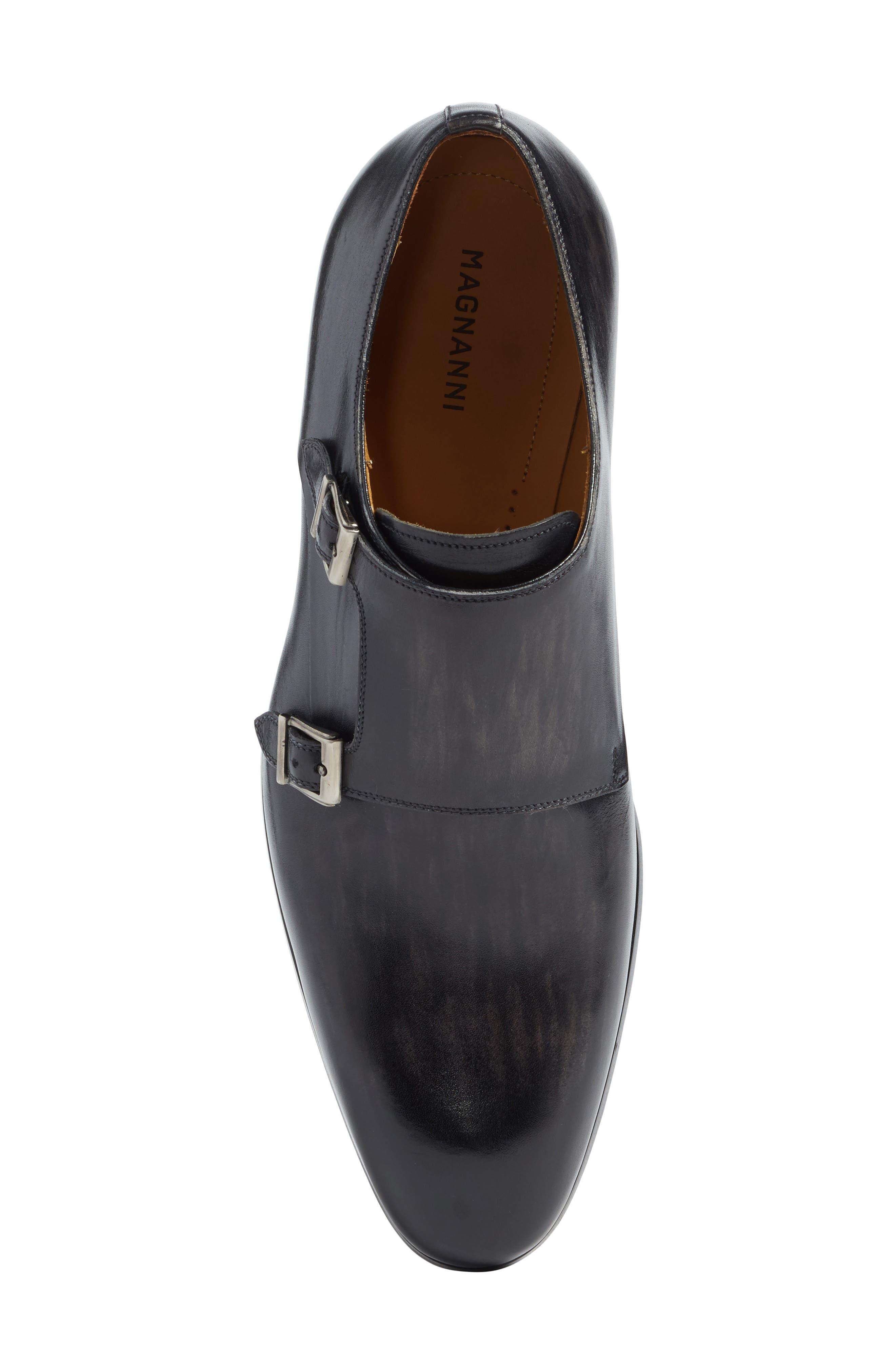 Lucio Double Strap Monk Shoe,                             Alternate thumbnail 5, color,                             Light Grey Leather