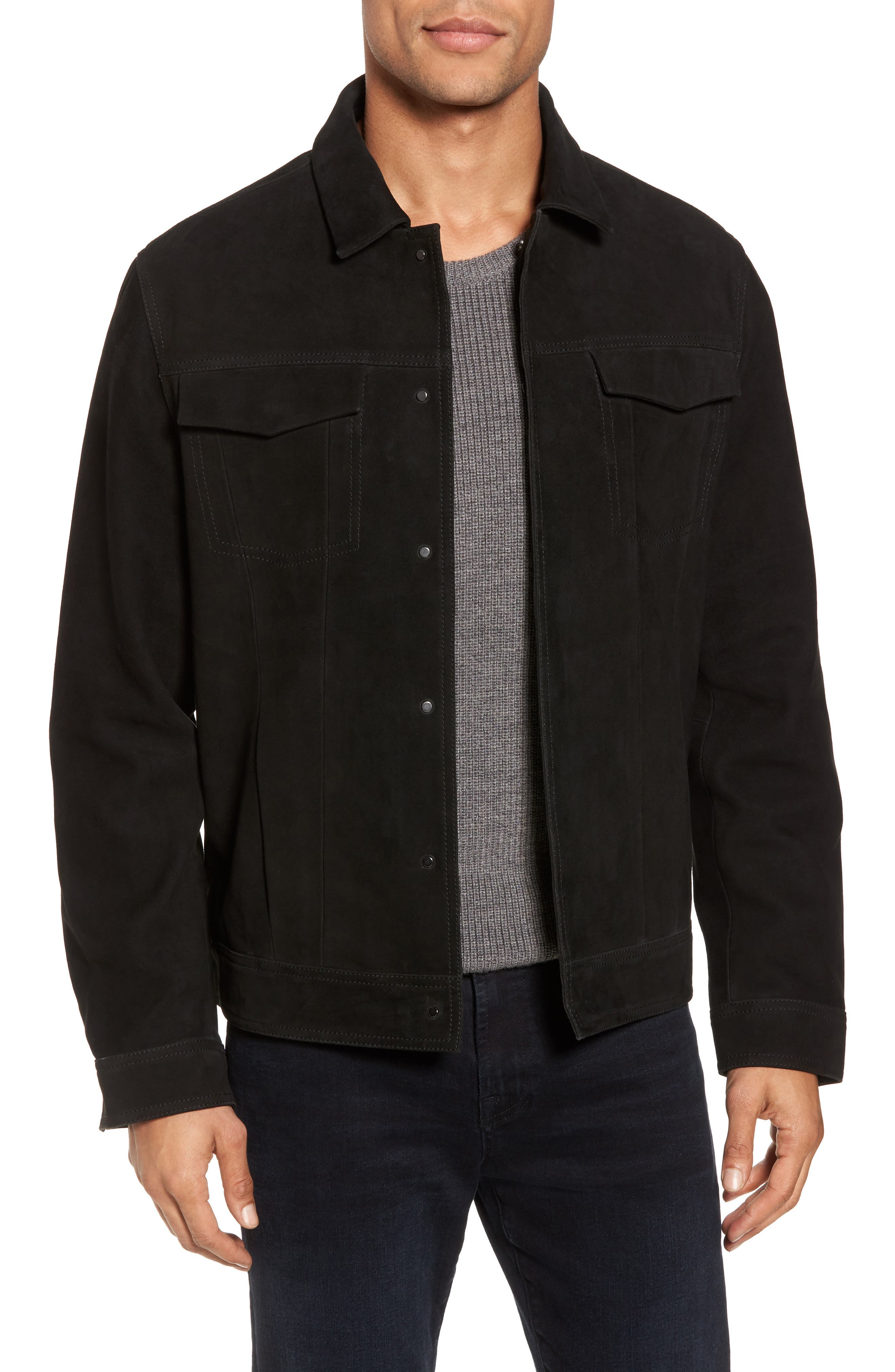 Suede Trucker Jacket by Calibrate