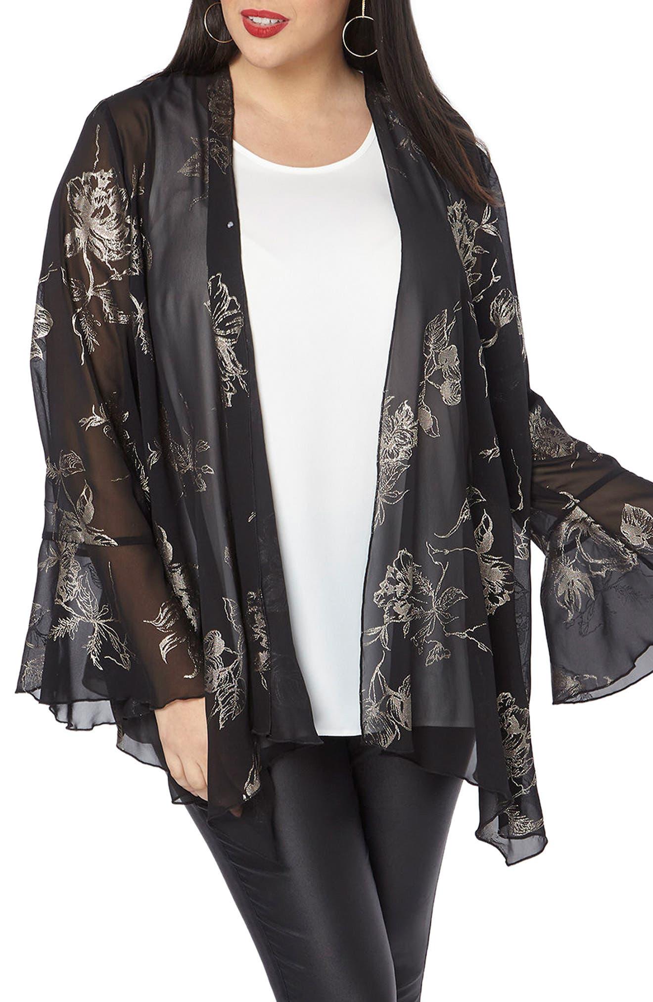 Gold Foil Bell Sleeve Kimono,                         Main,                         color, Dark Multi