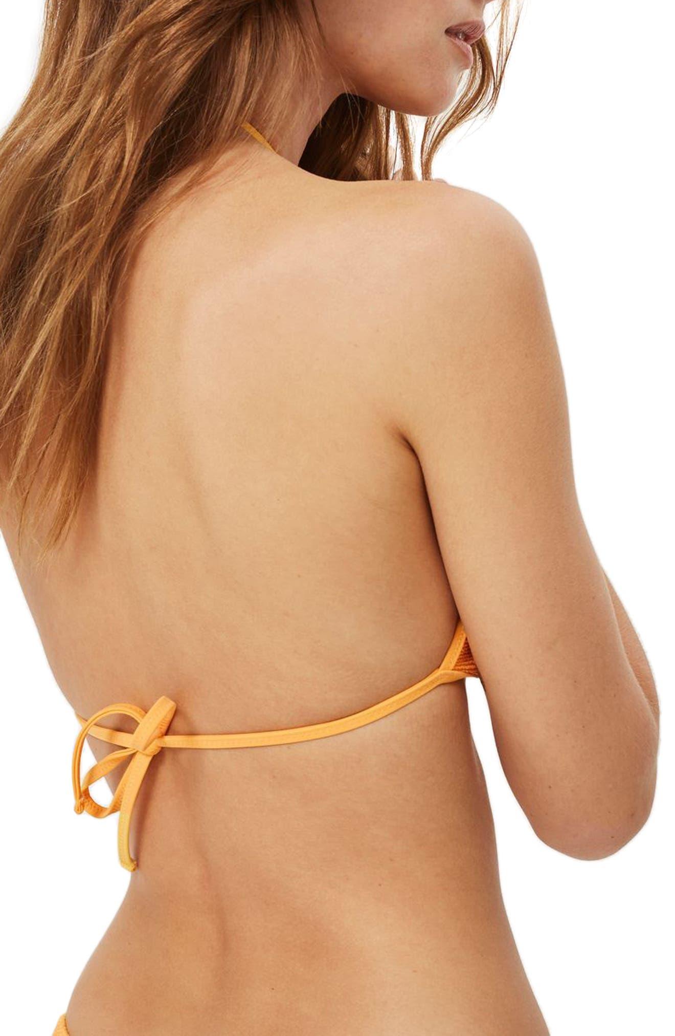 Shirred Triangle Bikini Top,                             Alternate thumbnail 2, color,                             Orange