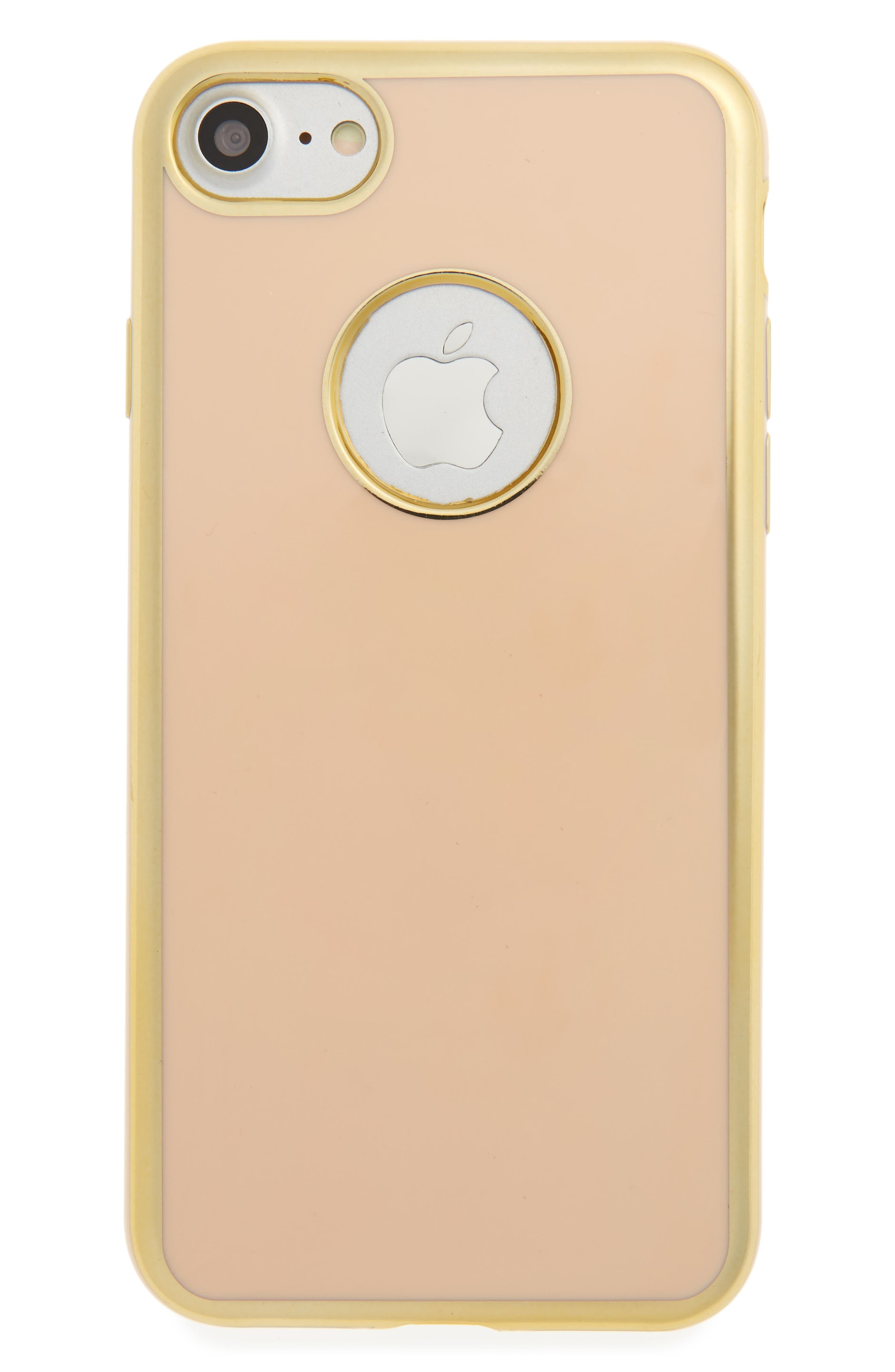 Metal Outline iPhone 7/8 Case,                         Main,                         color, Gold/ Peach