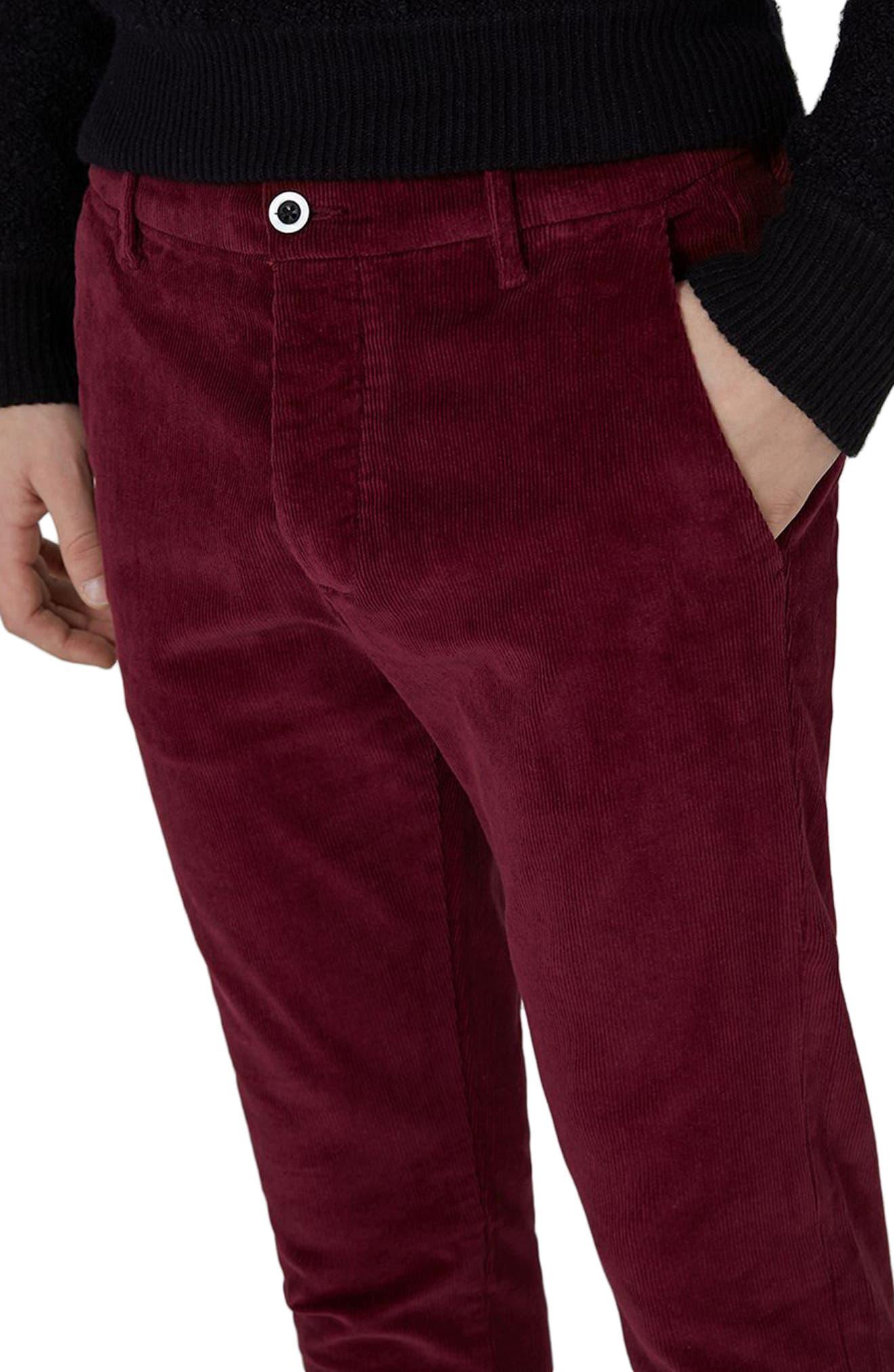 Skinny Fit Corduroy Trousers,                             Alternate thumbnail 3, color,                             Burgundy