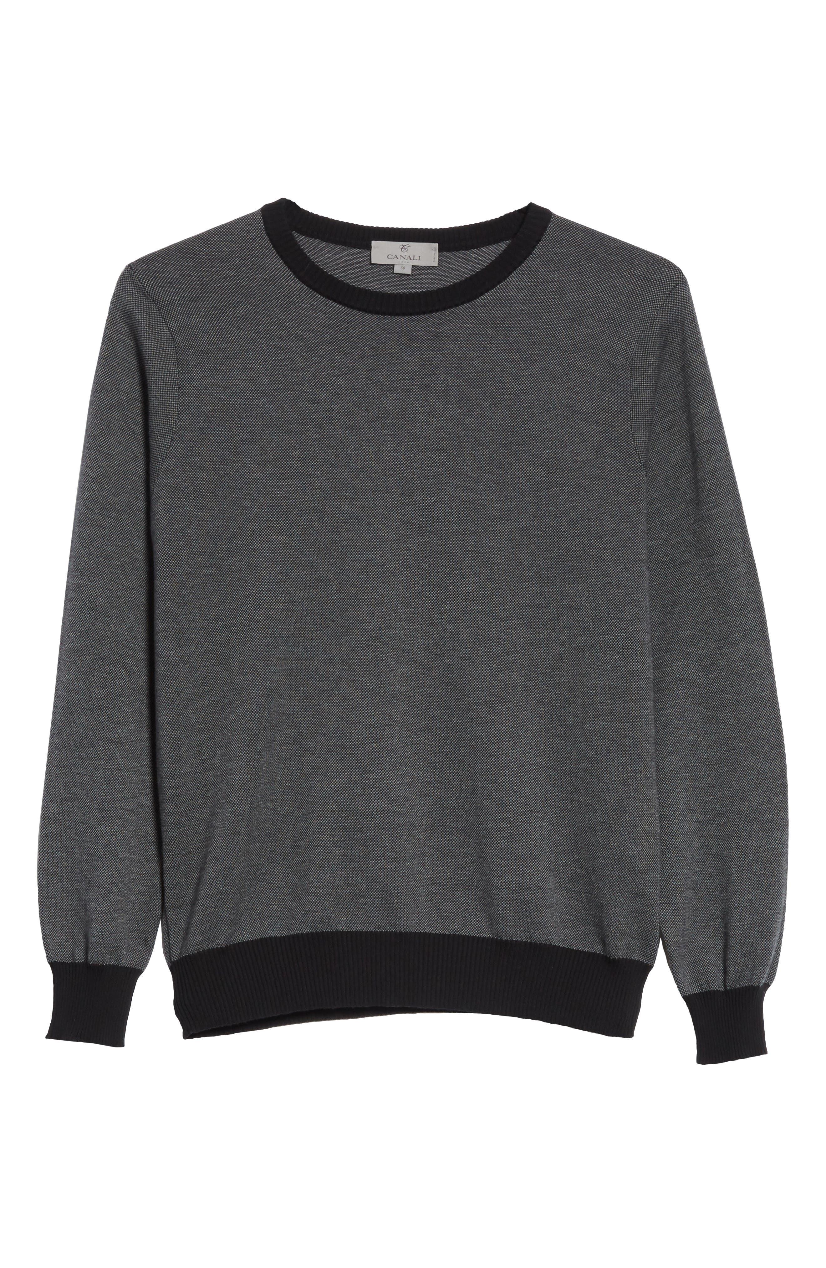 Textured Cotton Sweatshirt,                             Alternate thumbnail 6, color,                             Charcoal