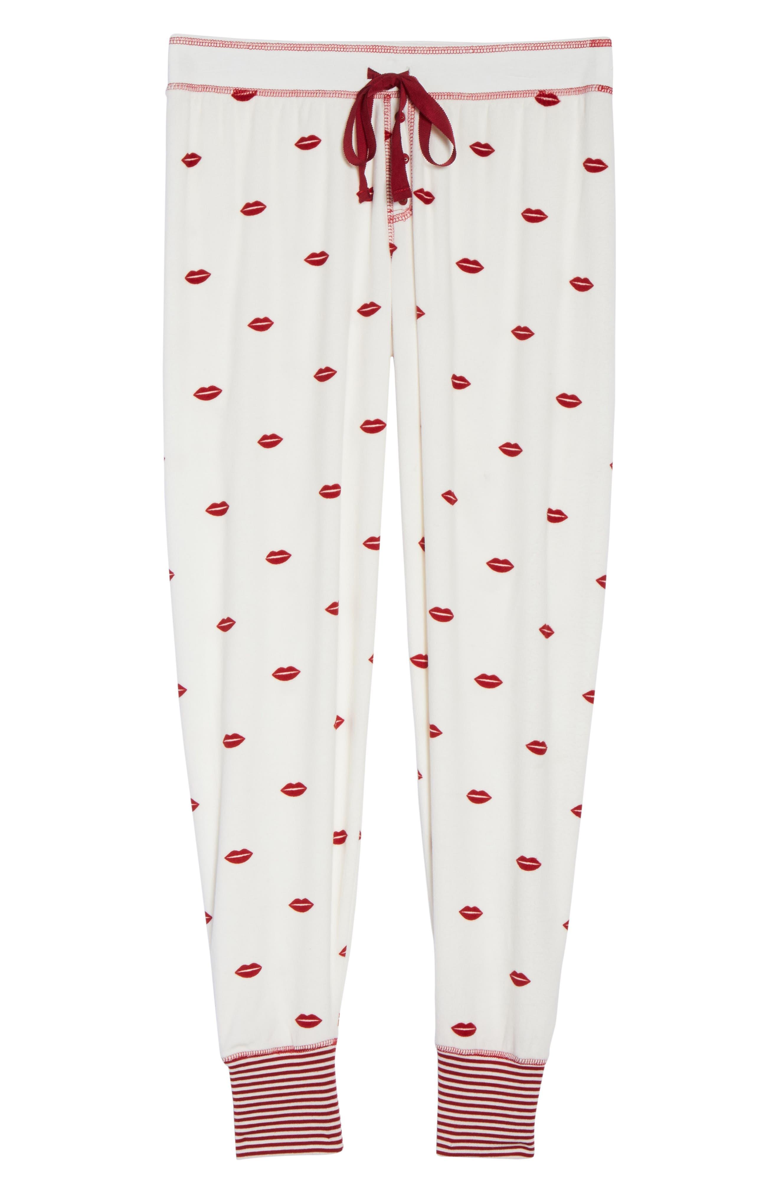 Lip Print Pajama Pants,                             Alternate thumbnail 4, color,                             Natural