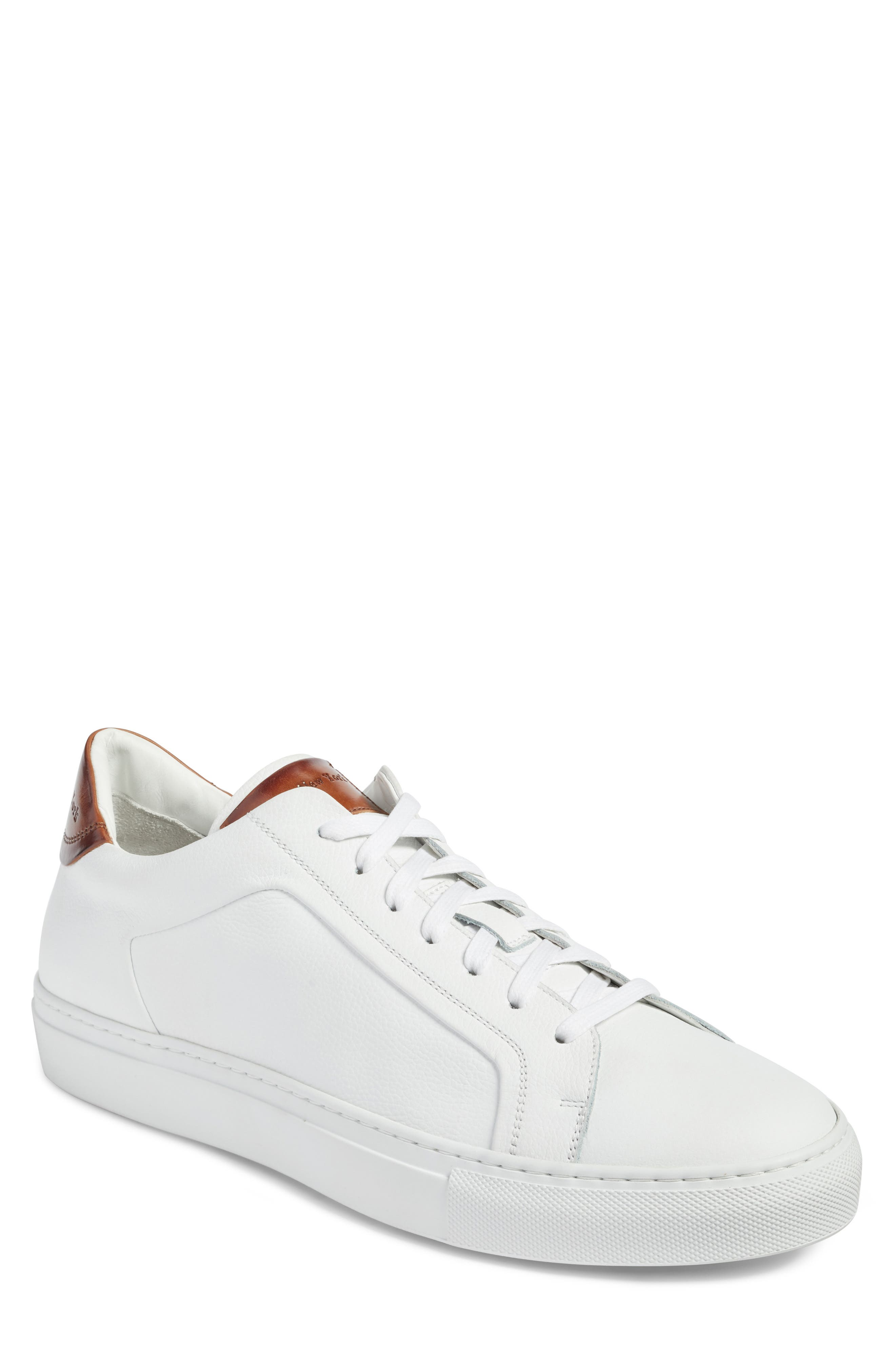 TO BOOT NEW YORK Men'S Carlin Leather Lace Up Sneakers in White/ Tan Leather