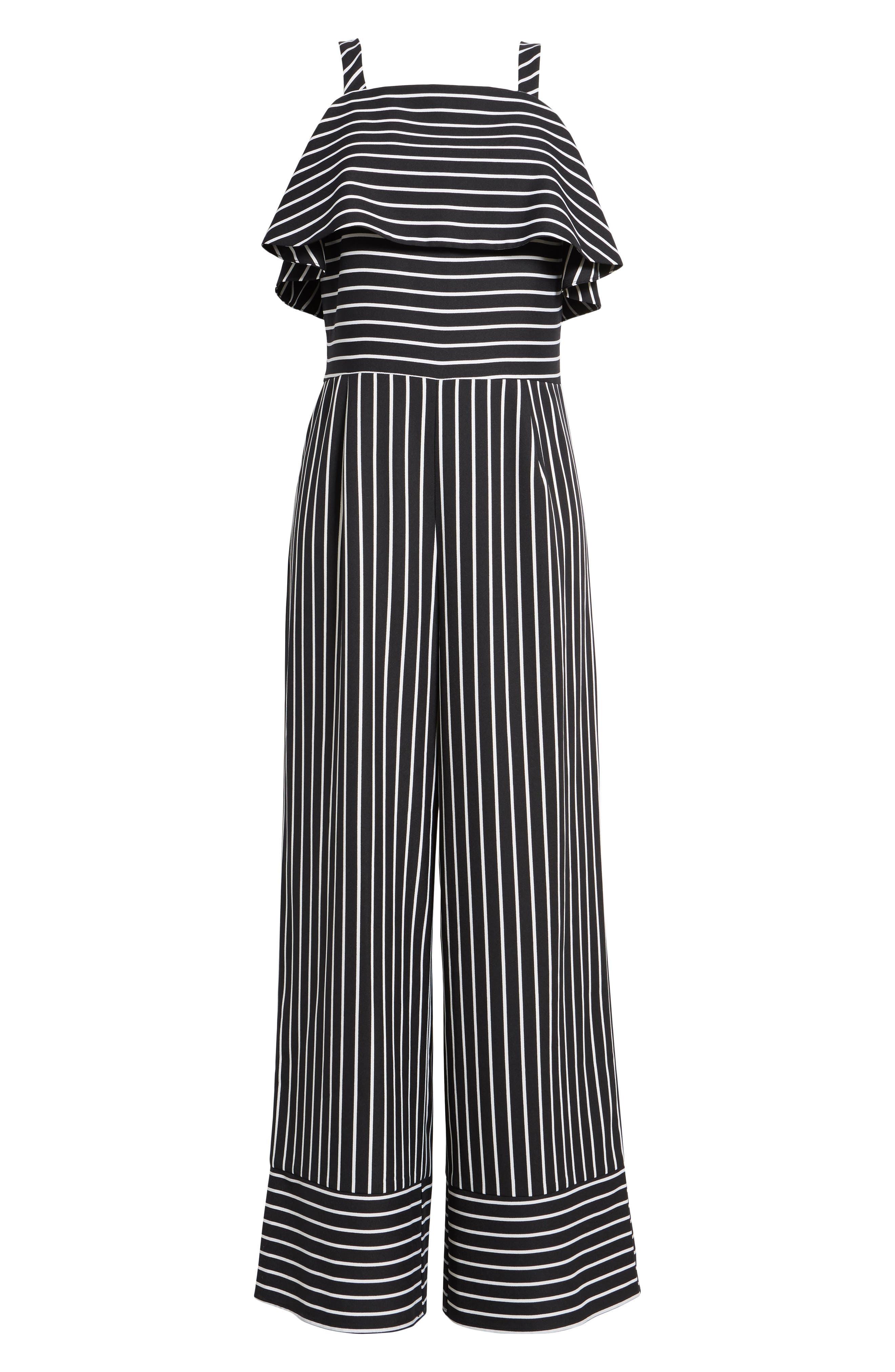 Stripe Jumpsuit,                             Alternate thumbnail 6, color,                             Black Bold Stripe