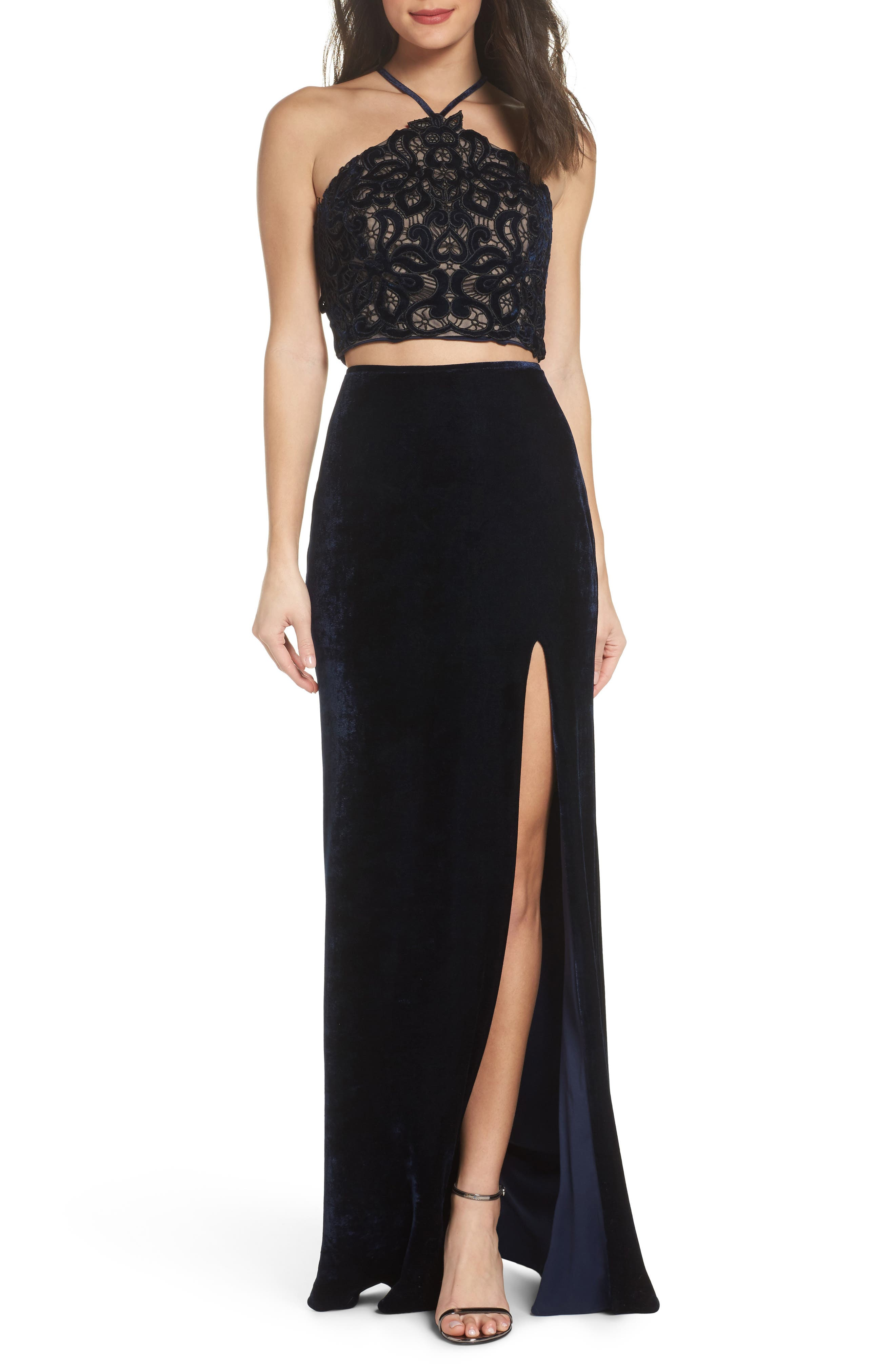 Two-Piece Embroidered Velvet Gown,                             Main thumbnail 1, color,                             Navy