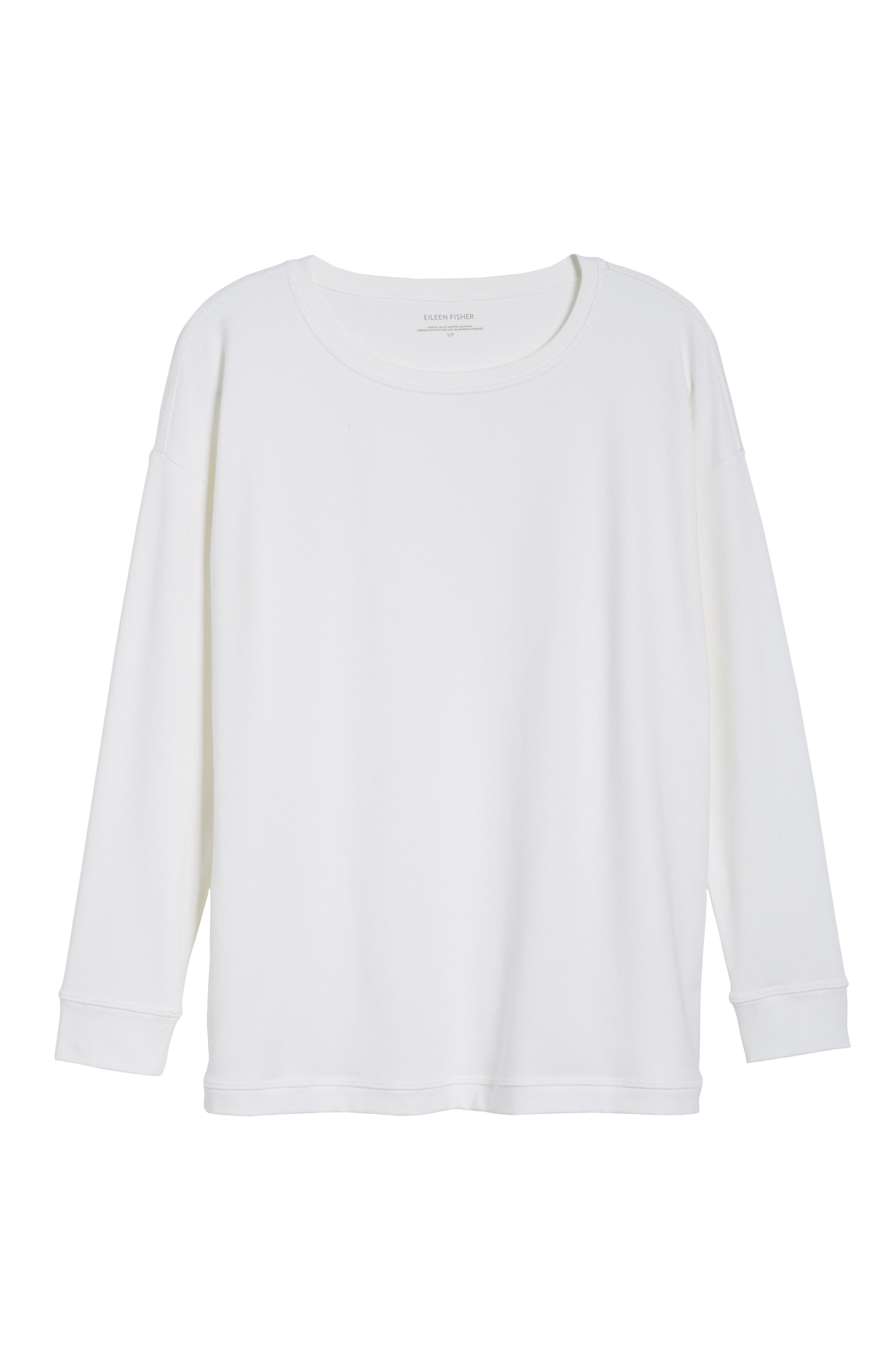 Jewel Neck Organic Stretch Cotton Tee,                             Alternate thumbnail 6, color,                             White