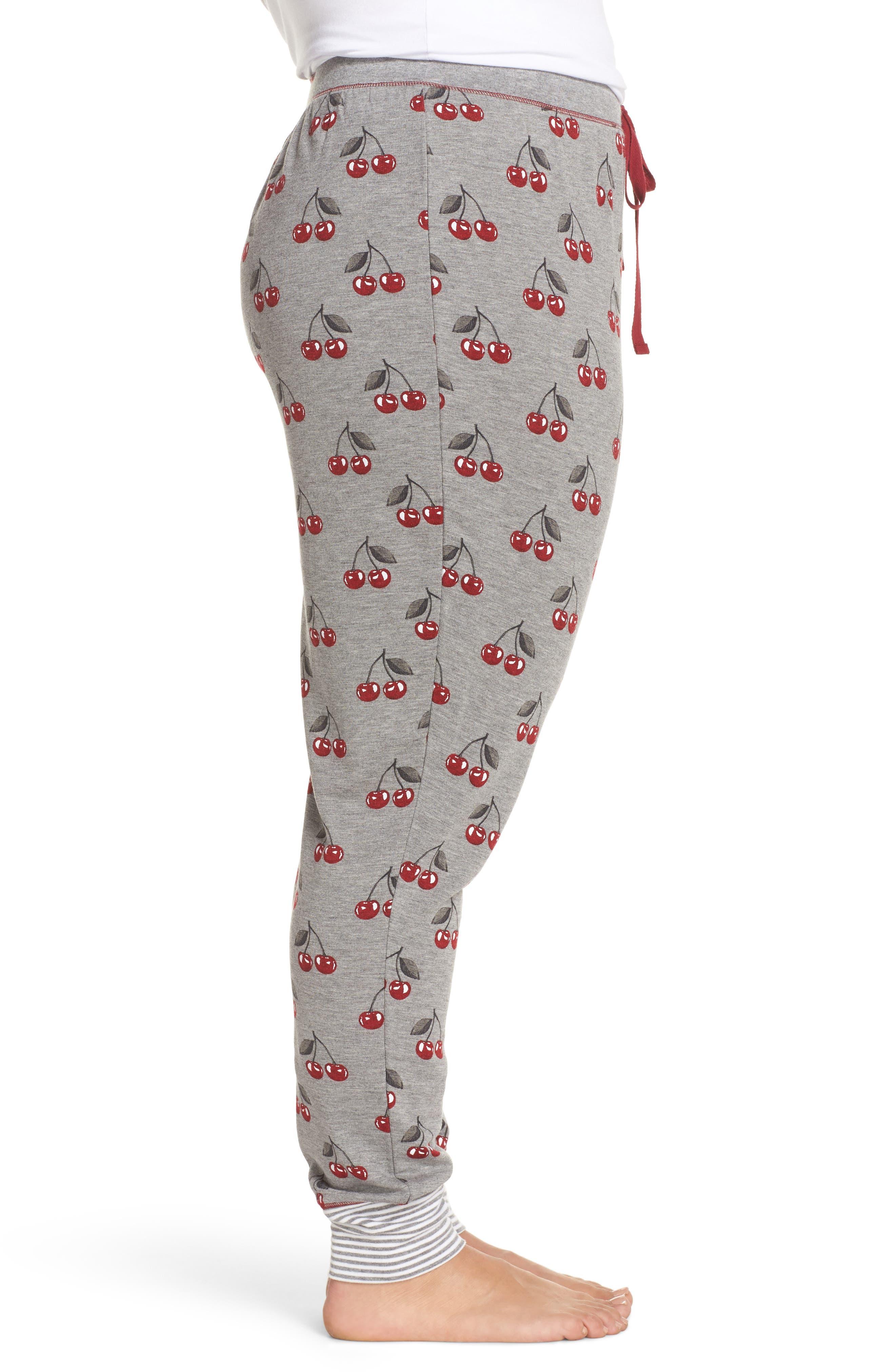 Cherry Pajama Pants,                             Alternate thumbnail 3, color,                             Heather Grey