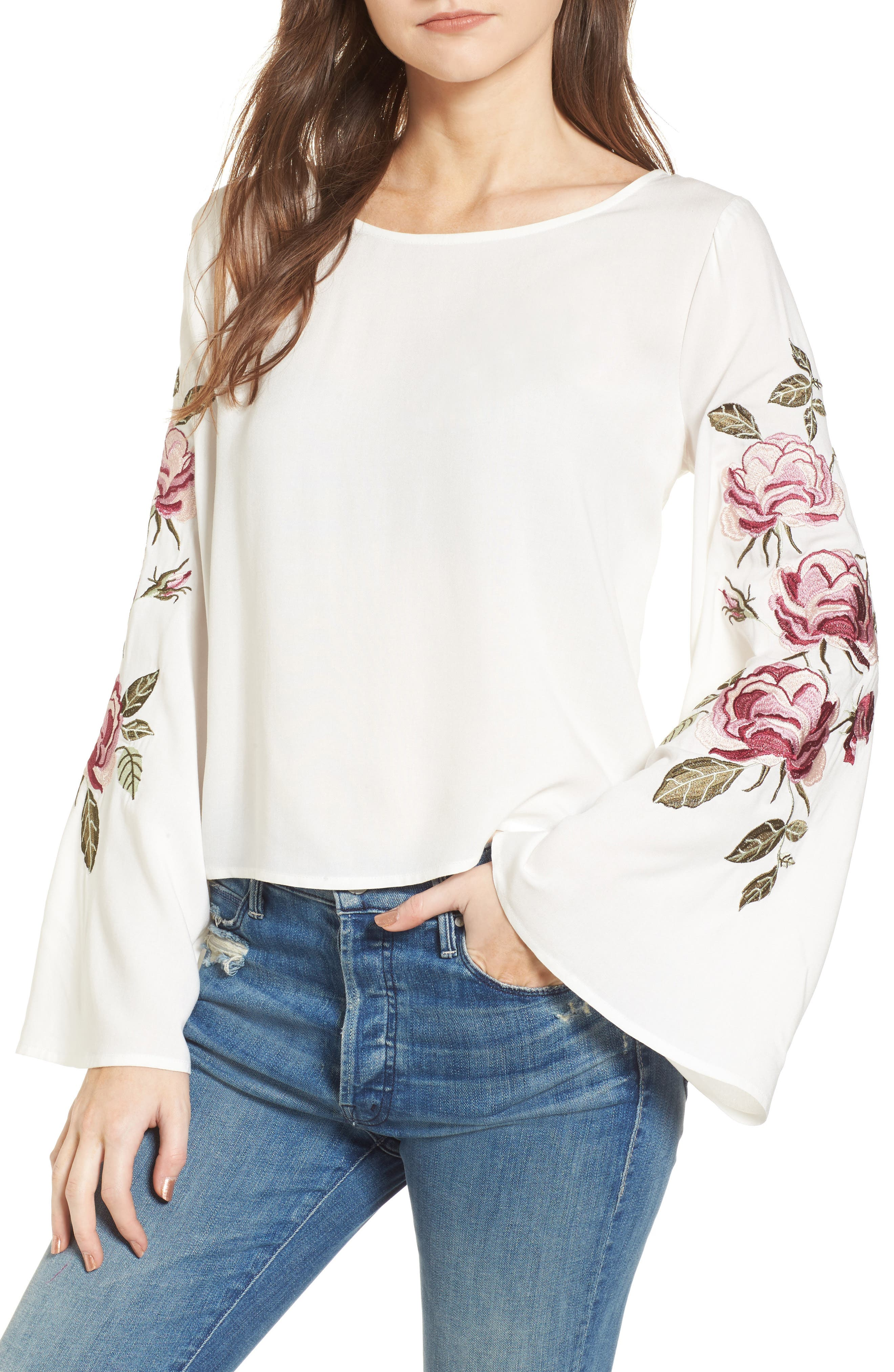 Aldona Embroidered Bell Sleeve Top,                             Main thumbnail 1, color,                             Ivory
