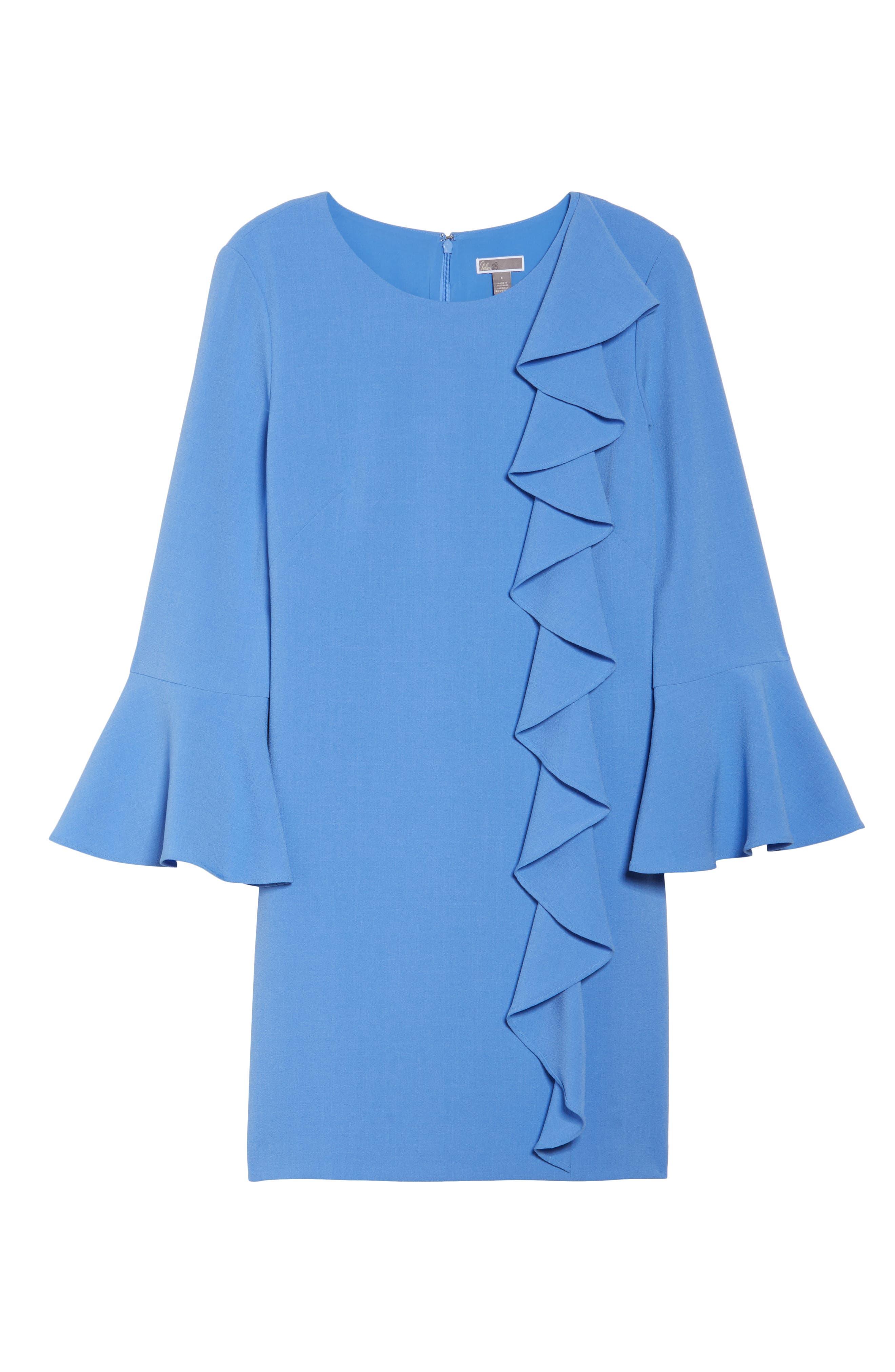 Ruffle Shift Dress,                             Alternate thumbnail 6, color,                             Blue Azurite