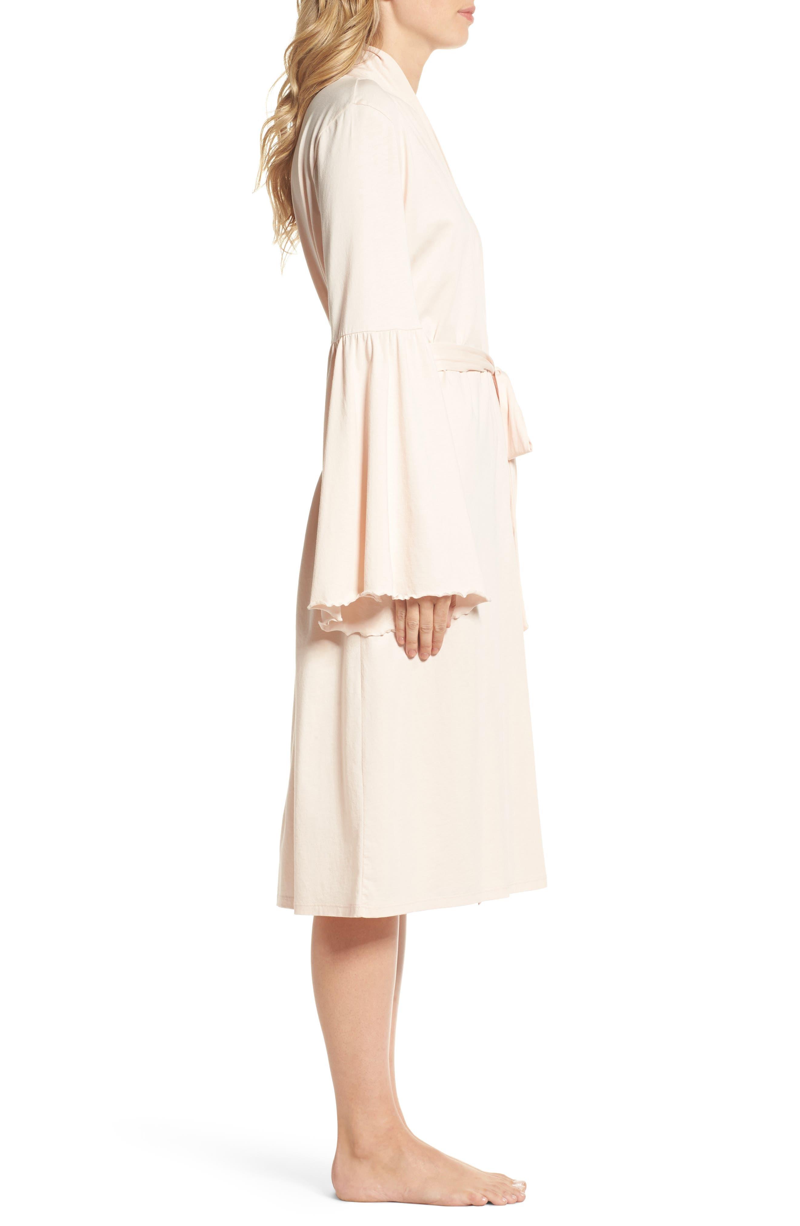 Pima Cotton Robe,                             Alternate thumbnail 3, color,                             Powder Pink